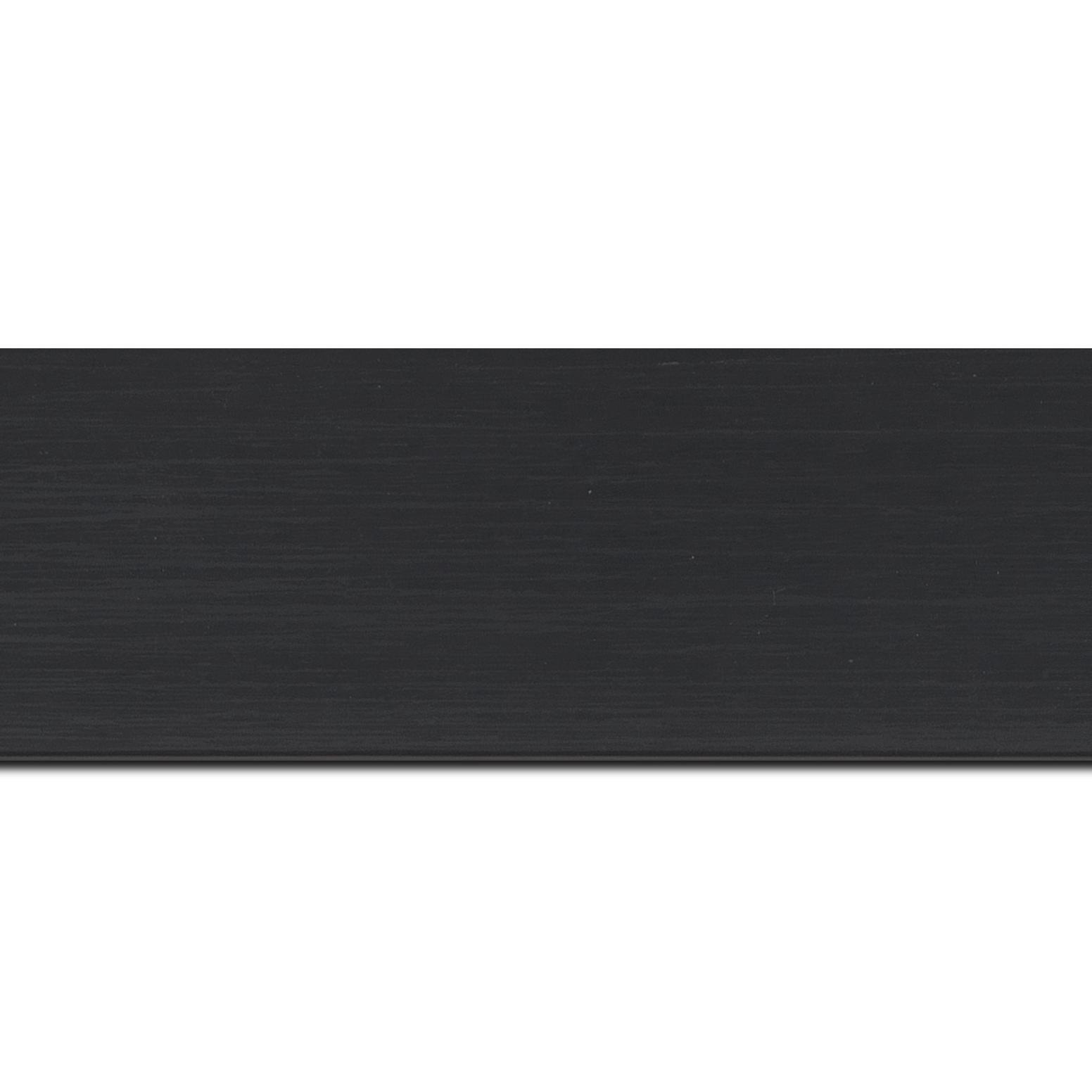 Baguette longueur 1.40m bois profil plat largeur 6cm noir satiné effet veiné