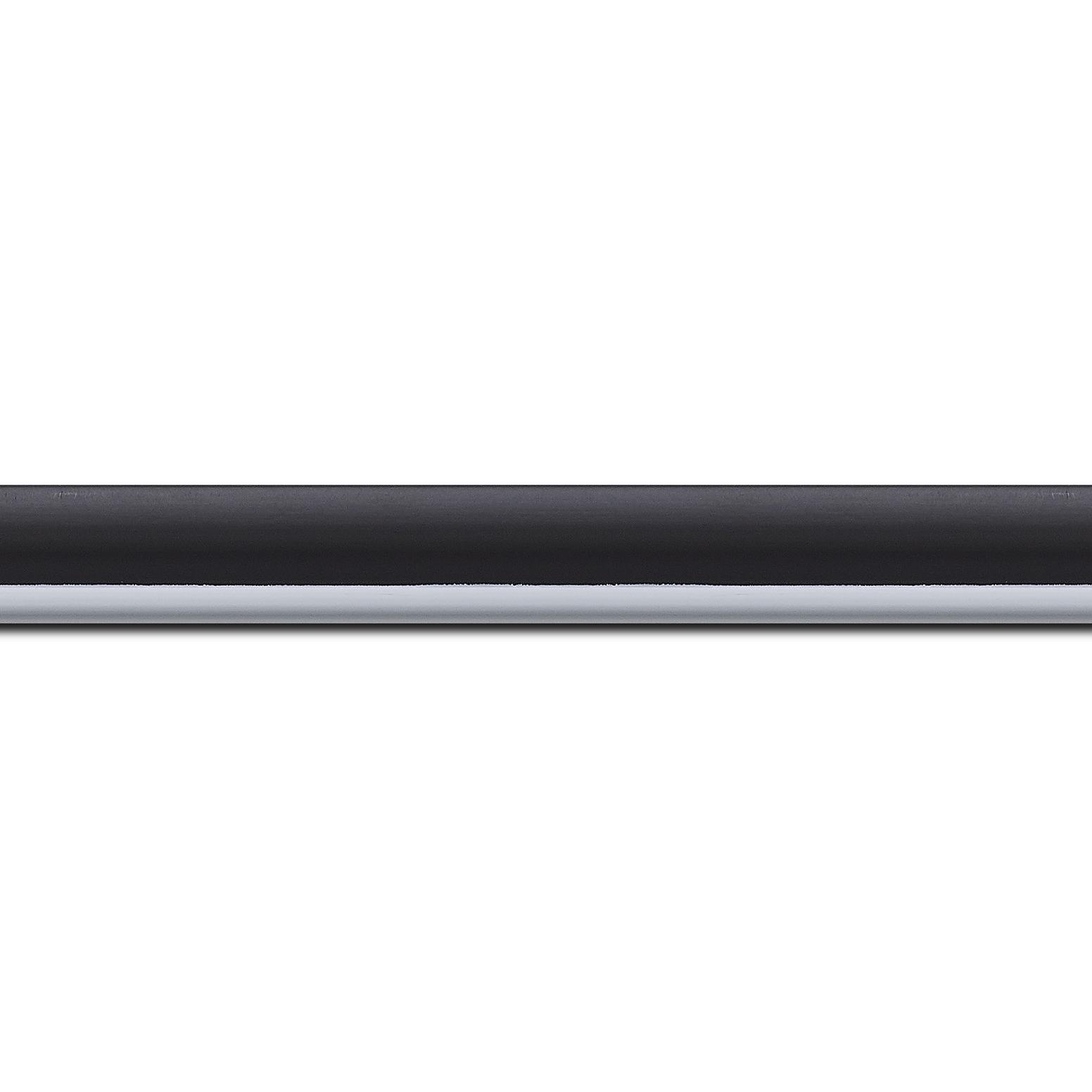 Baguette longueur 1.40m bois profil arrondi largeur 2.1cm  couleur noir mat filet blanc
