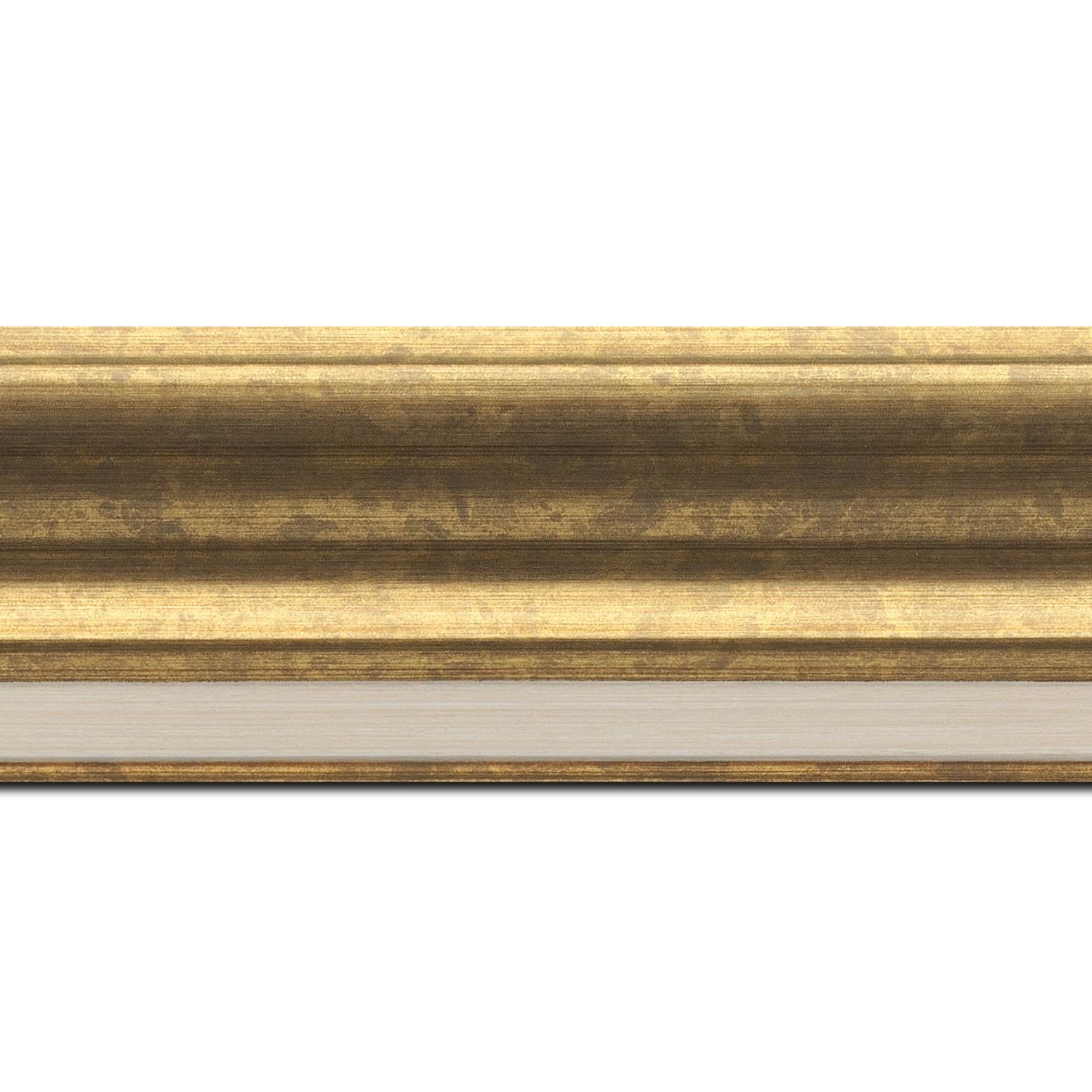 Pack par 12m, bois profil incurvé largeur 6.3cm couleur or marie louise intégrée(longueur baguette pouvant varier entre 2.40m et 3m selon arrivage des bois)