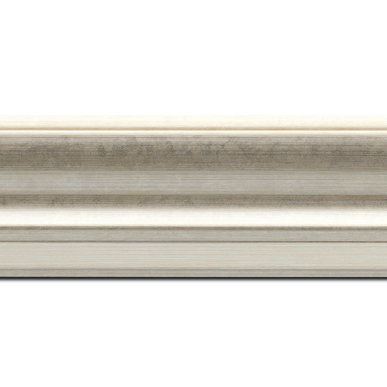 Pack par 12m, bois profil incurvé largeur 6.3cm couleur argent chaud marie louise intégrée(longueur baguette pouvant varier entre 2.40m et 3m selon arrivage des bois)