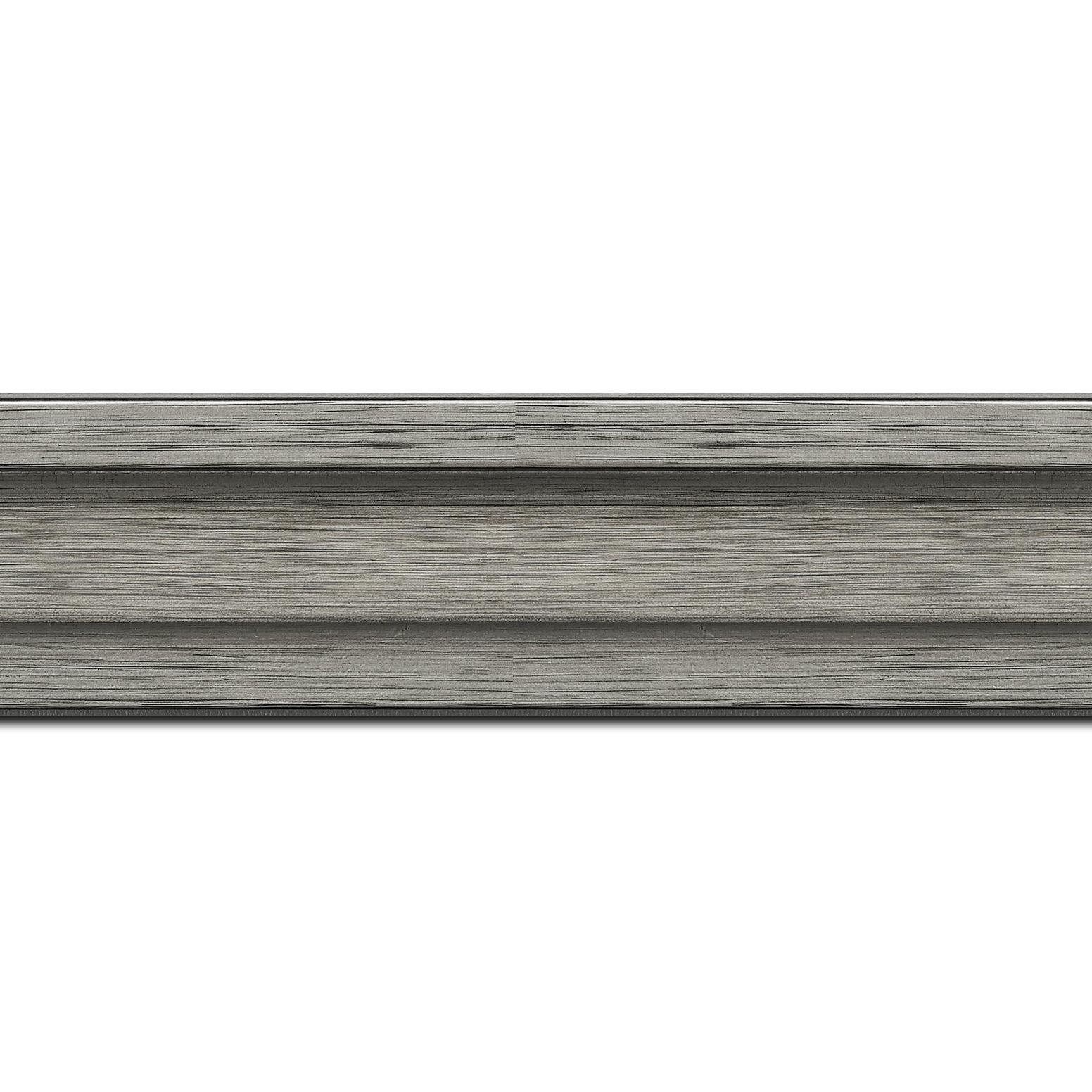 Pack par 12m, bois caisse américaine profil escalier largeur 4.4cm couleur plomb (spécialement conçu pour les châssis d'une épaisseur jusqu'à 2.5cm )(longueur baguette pouvant varier entre 2.40m et 3m selon arrivage des bois)