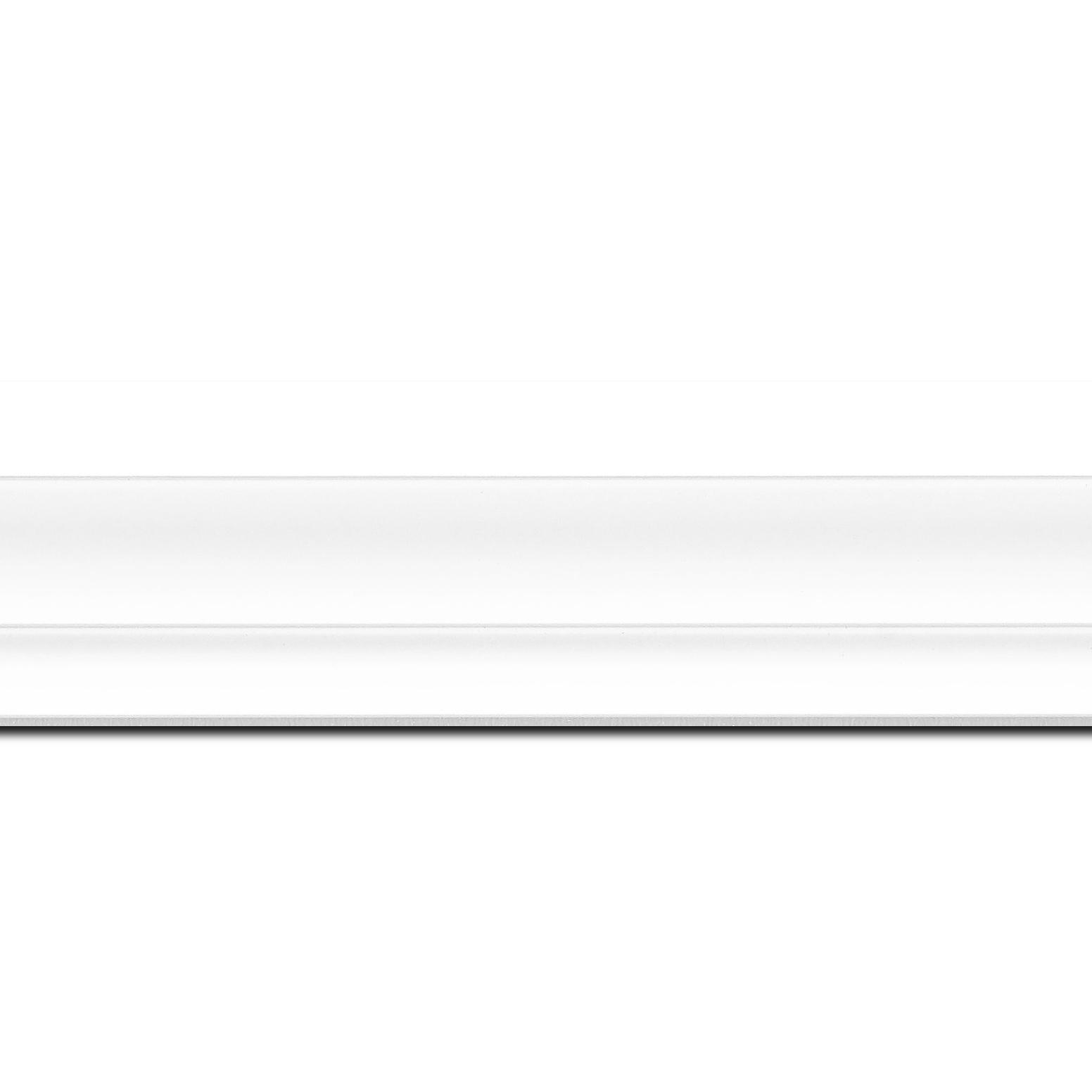 Baguette longueur 1.40m bois caisse américaine xl profil escalier largeur 4.9cm blanc mat (spécialement conçu pour les châssis 3d d'une épaisseur de 3 à 4cm)