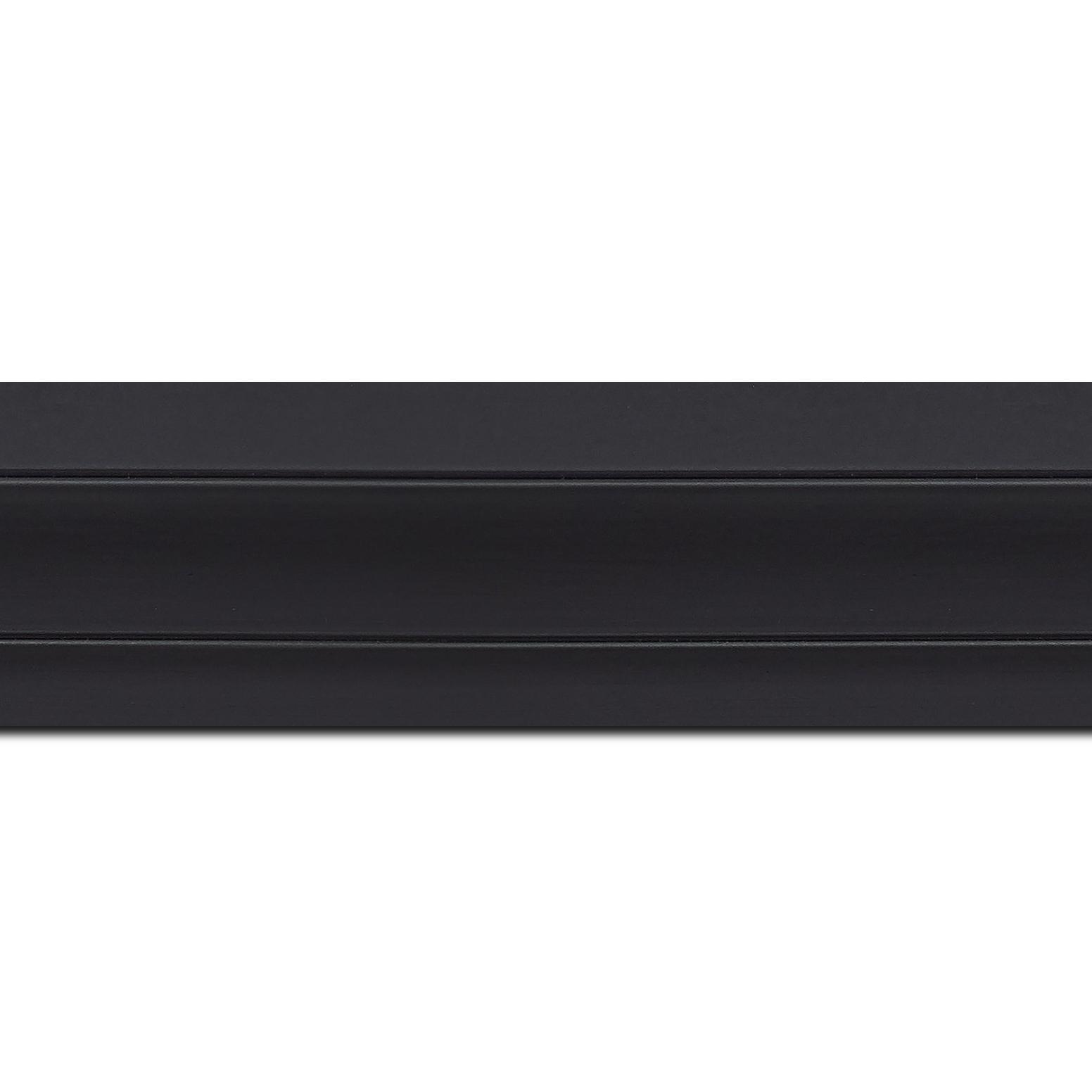 Baguette longueur 1.40m bois caisse américaine xl profil escalier largeur 4.9cm noir mat (spécialement conçu pour les châssis 3d d'une épaisseur de 3 à 4cm)