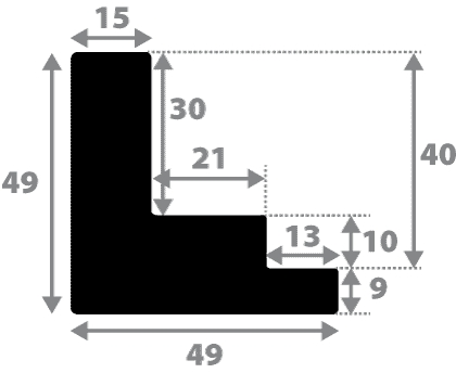 Baguette coupe droite bois caisse américaine xl profil escalier largeur 4.9cm naturel (spécialement conçu pour les châssis 3d d'une épaisseur de 3 à 4cm) sans verni,peut être peint...
