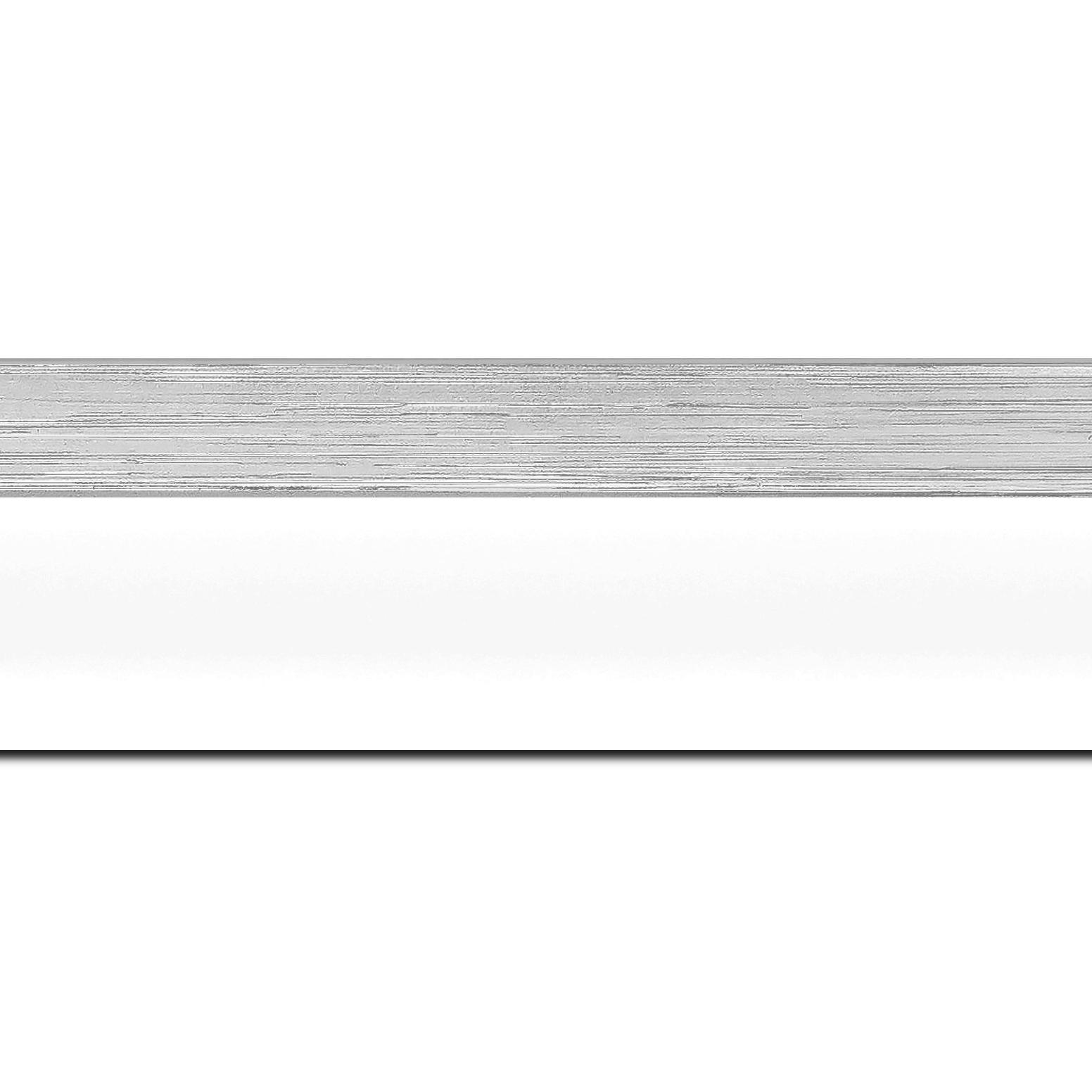 Baguette longueur 1.40m bois caisse américaine profil en l (flottante) largeur 4.5cm blanc mat finition pore bouché filet argent largeur 2cm qualitÉ galerie (spécialement conçu pour les châssis d'une épaisseur jusqu'à 3cm ) information complémentaire : il faut renseigner la dimension précise de votre sujet  et l'espace intérieur entre la toile et le cadre sera de 2cm