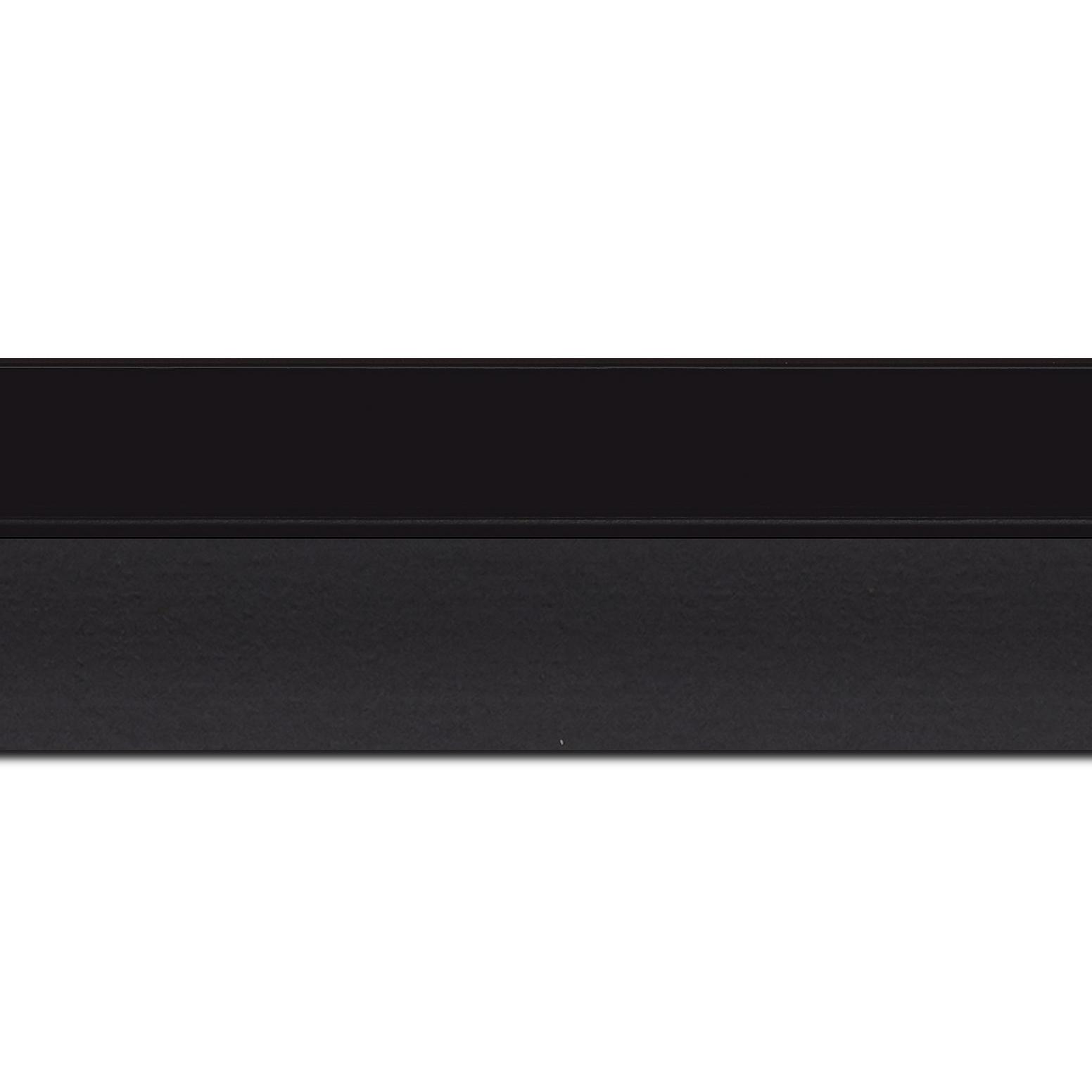 Baguette longueur 1.40m bois caisse américaine profil en l (flottante) largeur 4.5cm noir mat finition pore bouché plat extérieur largeur 2cm qualitÉ galerie (spécialement conçu pour les châssis d'une épaisseur jusqu'à 3cm ) information complémentaire : il faut renseigner la dimension précise de votre sujet  et l'espace intérieur entre la toile et le cadre sera de 2cm
