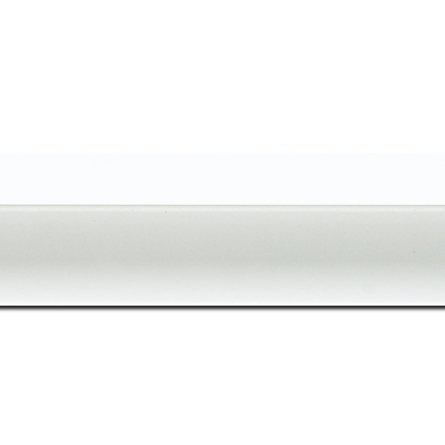 Baguette longueur 1.40m bois caisse américaine profil en l (flottante) largeur 4.5cm blanc mat finition pore bouché plat extérieur largeur 2cm qualitÉ galerie (spécialement conçu pour les châssis d'une épaisseur jusqu'à 3cm ) information complémentaire : il faut renseigner la dimension précise de votre sujet  et l'espace intérieur entre la toile et le cadre sera de 2cm