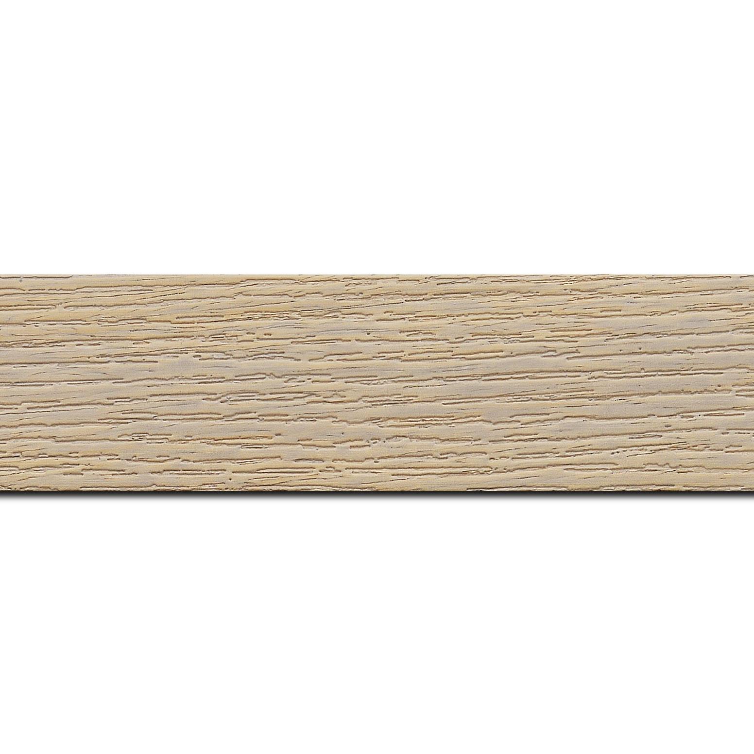 Pack par 12m, bois profil plat largeur 4.4cm couleur naturel blanchie finition veiné (longueur baguette pouvant varier entre 2.40m et 3m selon arrivage des bois)