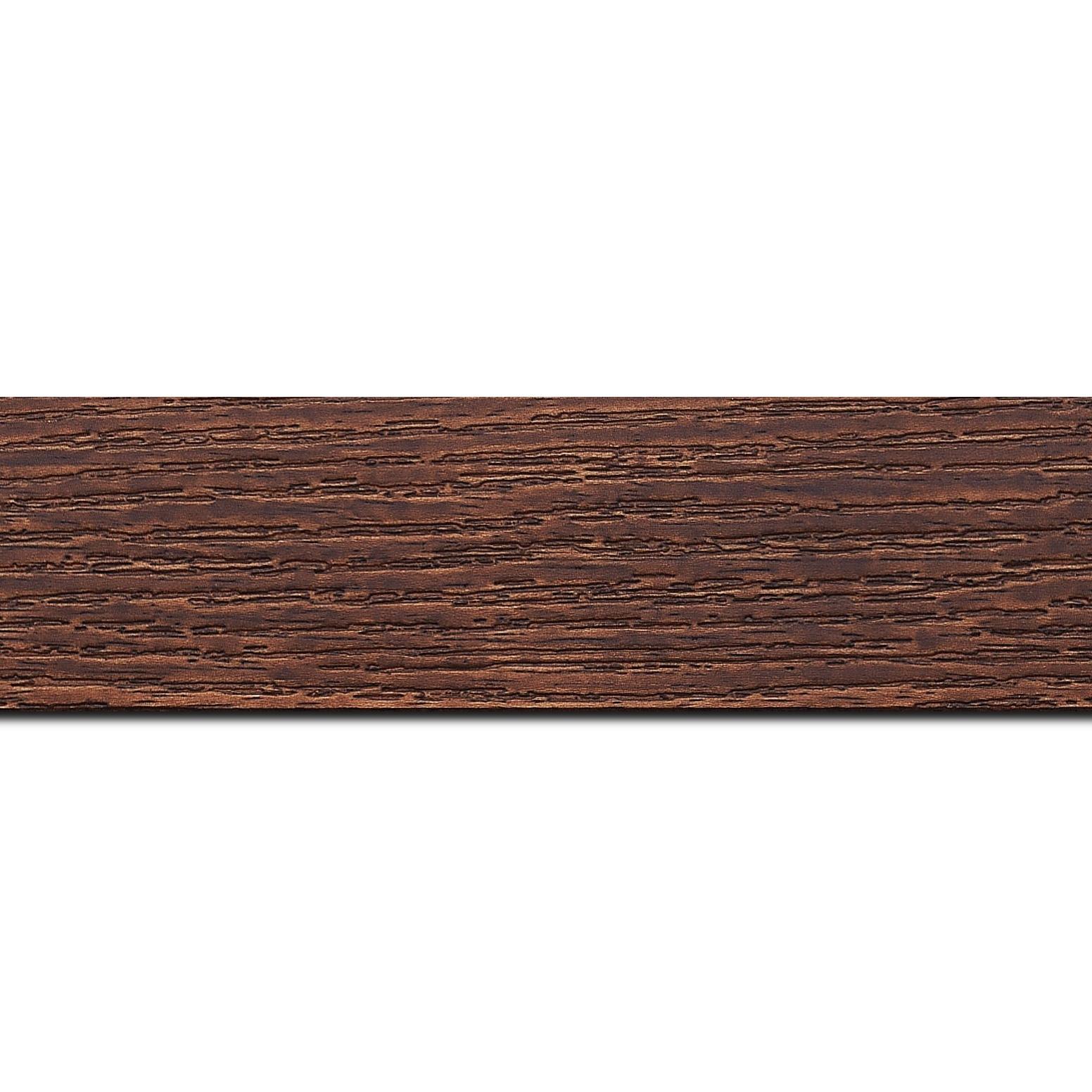 Pack par 12m, bois profil plat largeur 4.4cm couleur merisier finition veiné (longueur baguette pouvant varier entre 2.40m et 3m selon arrivage des bois)