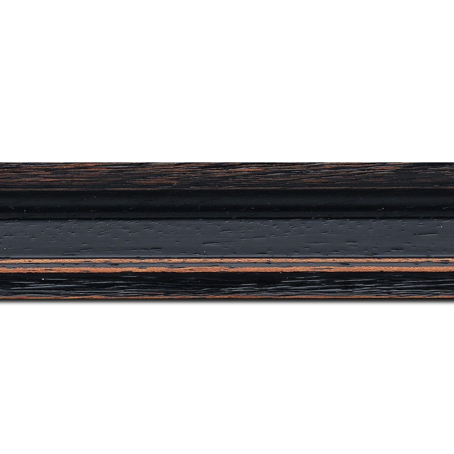 Baguette longueur 1.40m bois profil braque largeur 4.5cm couleur noir antique