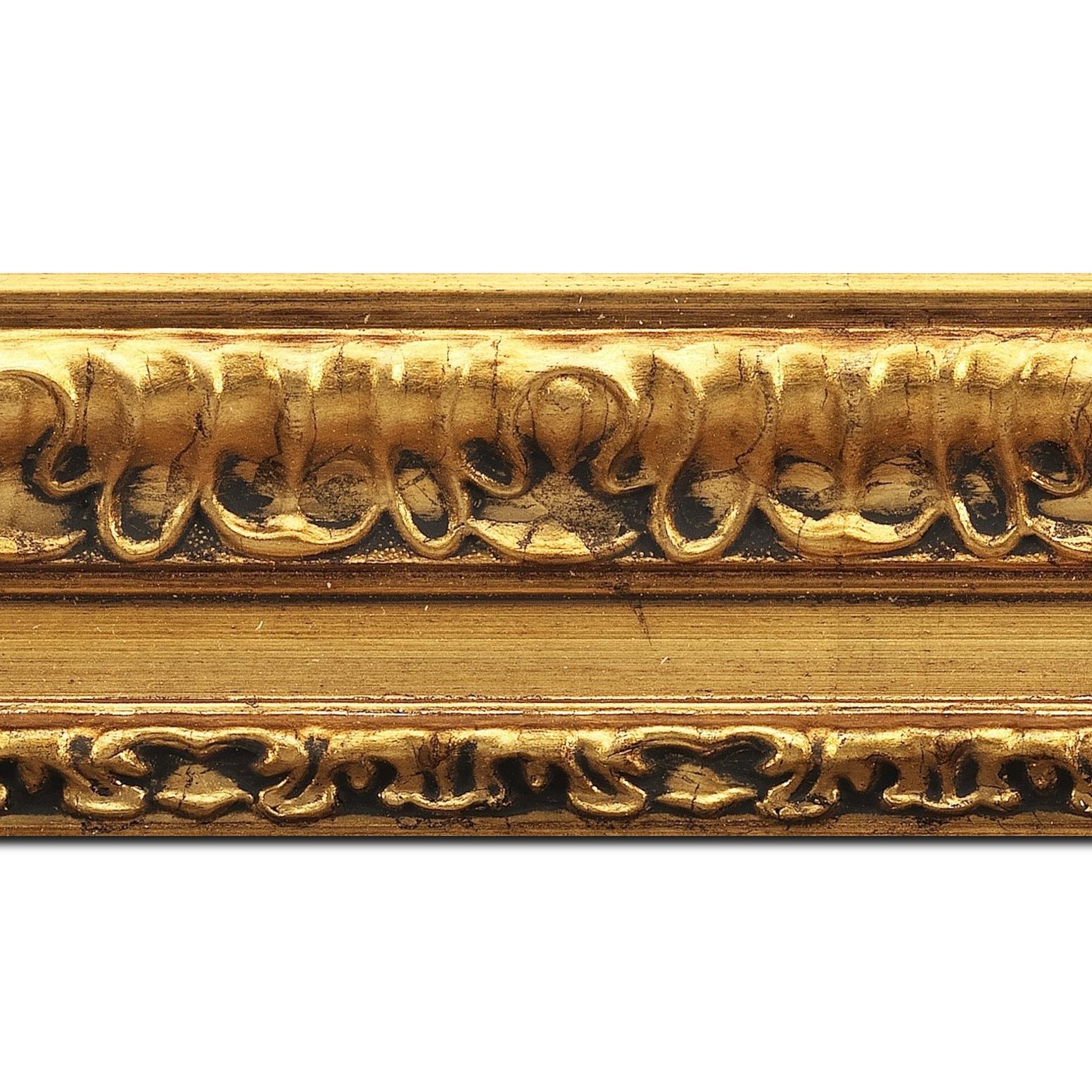 Pack par 12m, bois profil incurvé largeur 8cm or antique classique (longueur baguette pouvant varier entre 2.40m et 3m selon arrivage des bois)