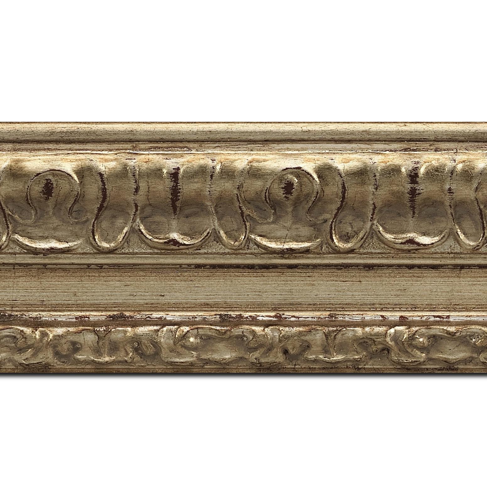 Baguette longueur 1.40m bois profil incurvé largeur 8cm argent chaud antique classique