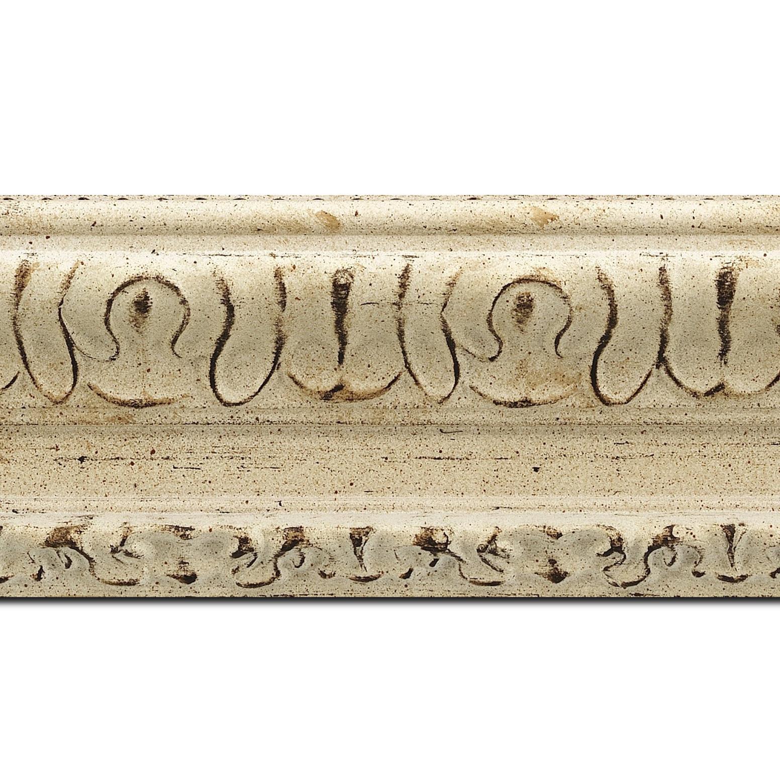 Pack par 12m, bois profil incurvé largeur 8cm blanchie finition antiquaire  (longueur baguette pouvant varier entre 2.40m et 3m selon arrivage des bois)