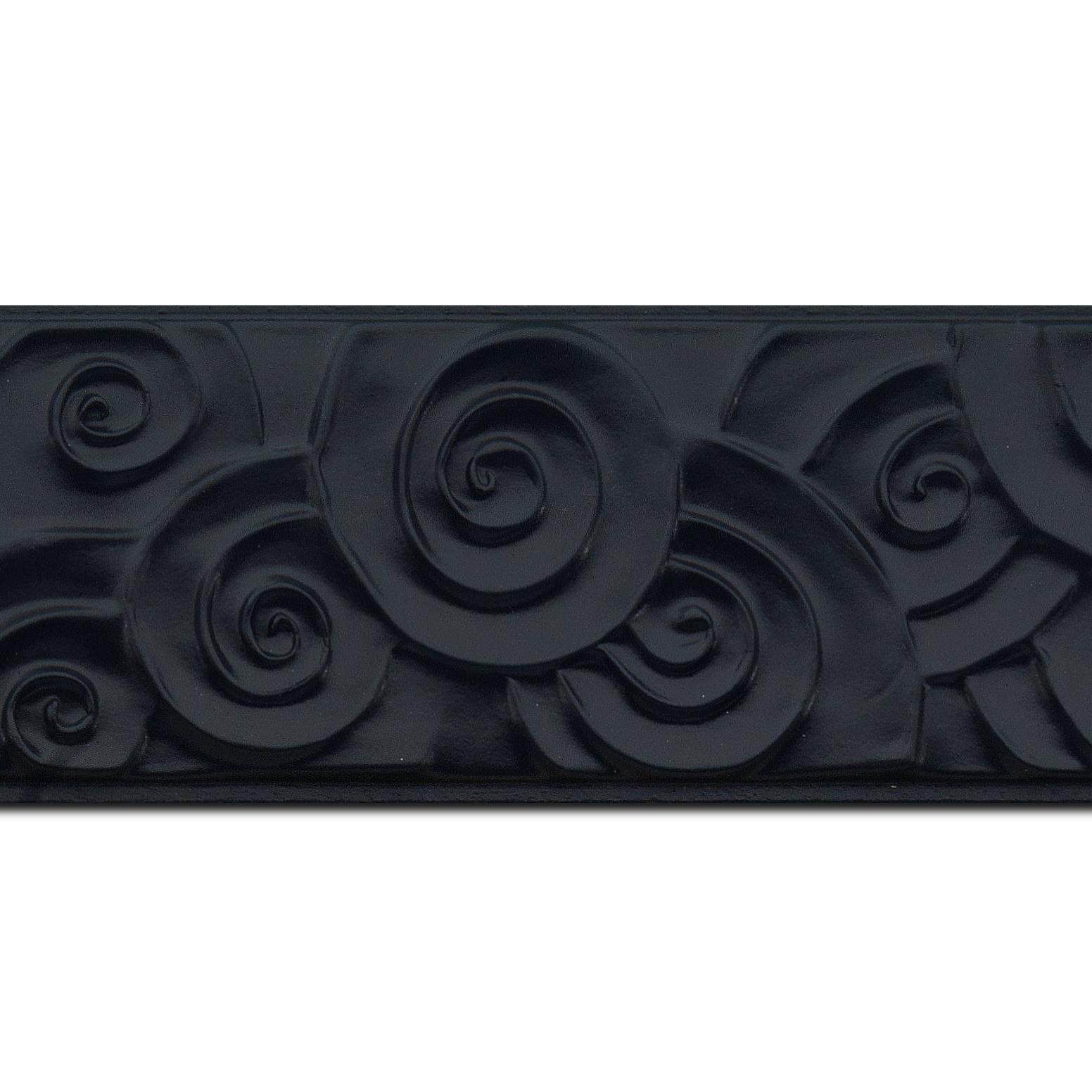 Pack par 12m, bois profil plat largeur 7cm couleur noir mat effet tourbillon (longueur baguette pouvant varier entre 2.40m et 3m selon arrivage des bois)