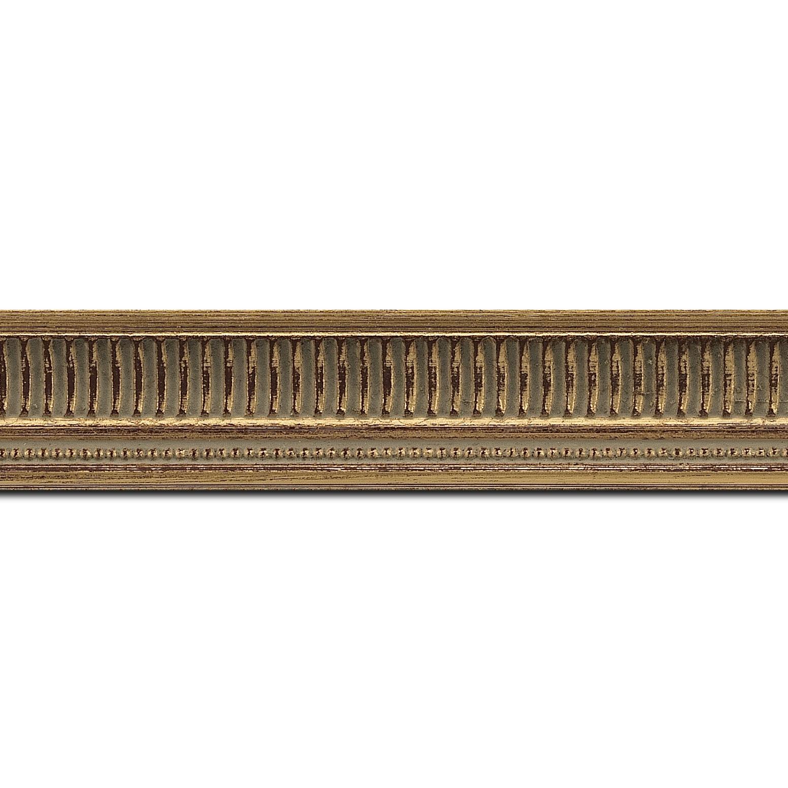 Pack par 12m, bois profil incurvé largeur 3.5cm or antique  empire à canaux (longueur baguette pouvant varier entre 2.40m et 3m selon arrivage des bois)