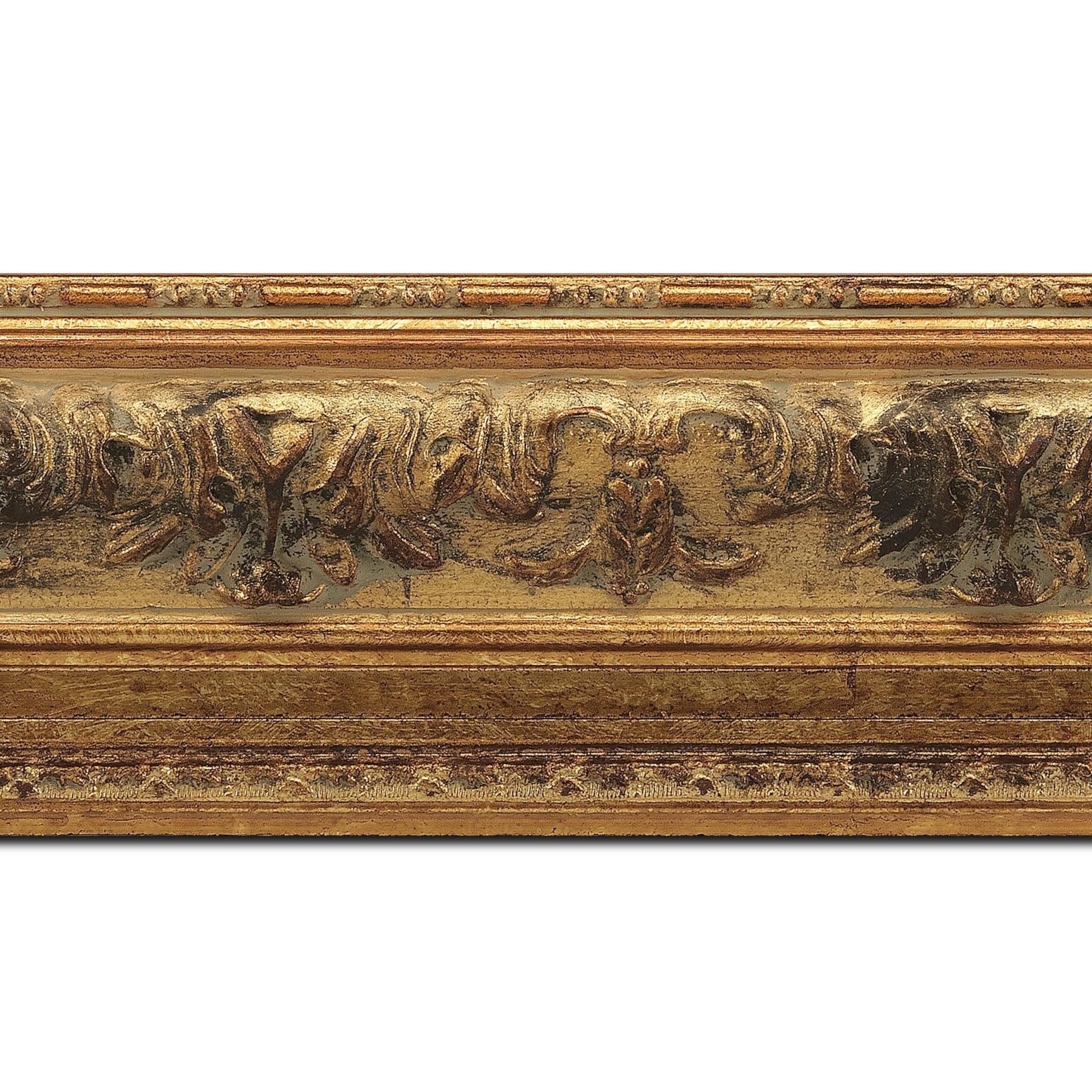Pack par 12m, bois profil incurvé largeur 9cm or antique à la feuille (longueur baguette pouvant varier entre 2.40m et 3m selon arrivage des bois)