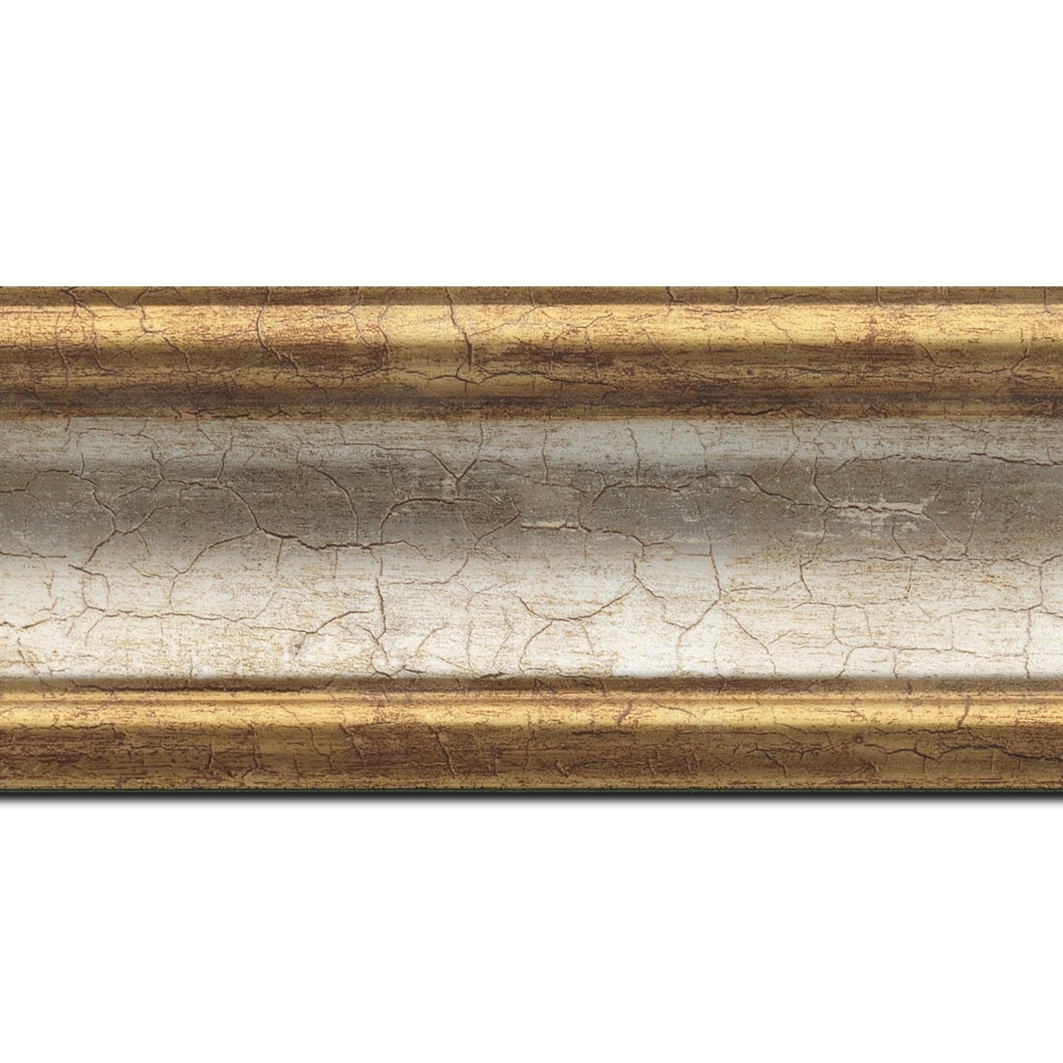 Pack par 12m, bois profil incurvé largeur 7cm gorge argent chaud craquelé bord or craquelé (longueur baguette pouvant varier entre 2.40m et 3m selon arrivage des bois)