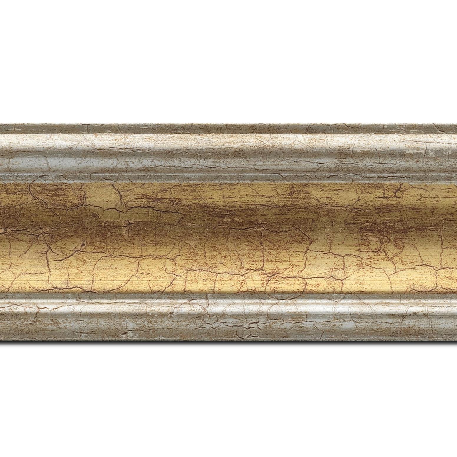Pack par 12m, bois profil incurvé largeur 7cm gorge or craquelé bord argent chaud craquelé (longueur baguette pouvant varier entre 2.40m et 3m selon arrivage des bois)