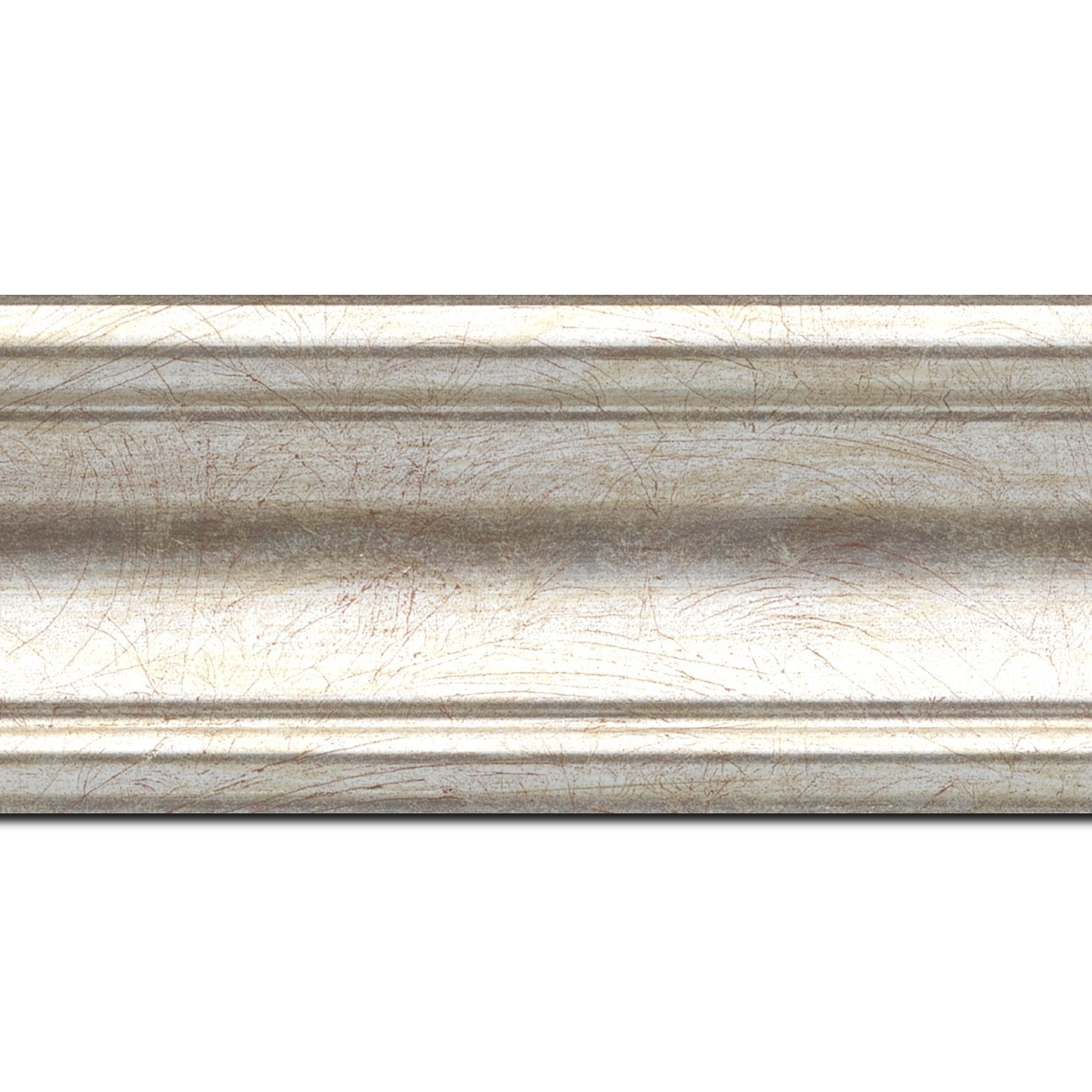 Baguette longueur 1.40m bois profil incurvé largeur 7cm argent chaud