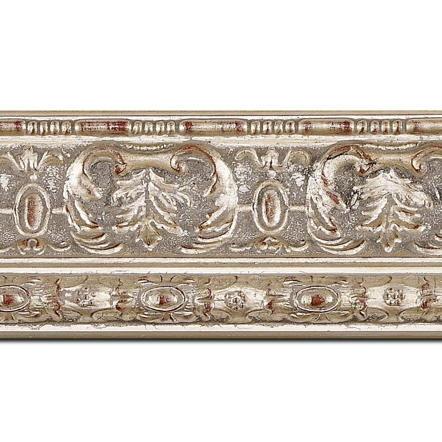 Baguette longueur 1.40m bois profil inversé largeur 9.2cm argent chaud style classique