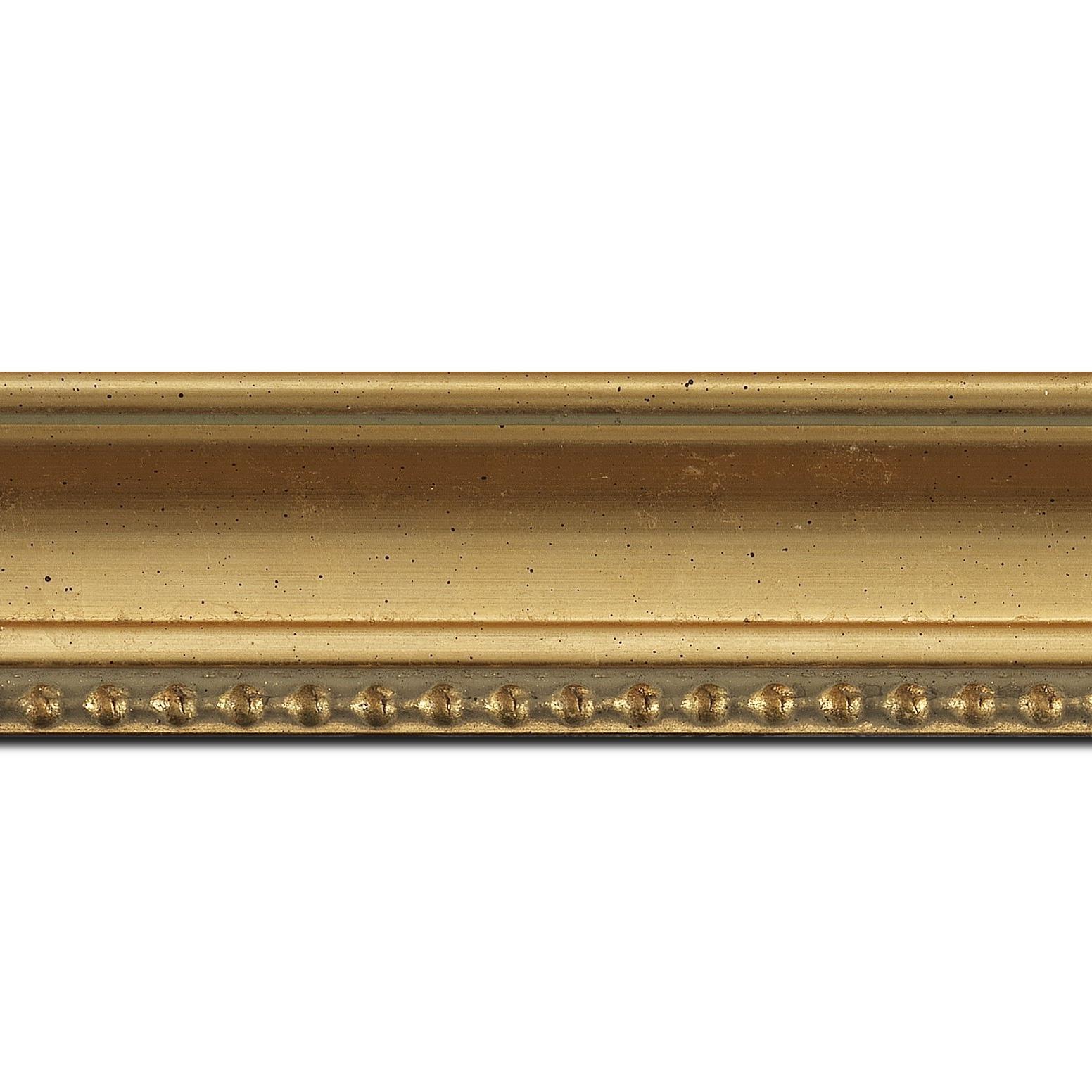 Baguette longueur 1.40m bois profil incurvé largeur 5cm or à la feuille filet perle