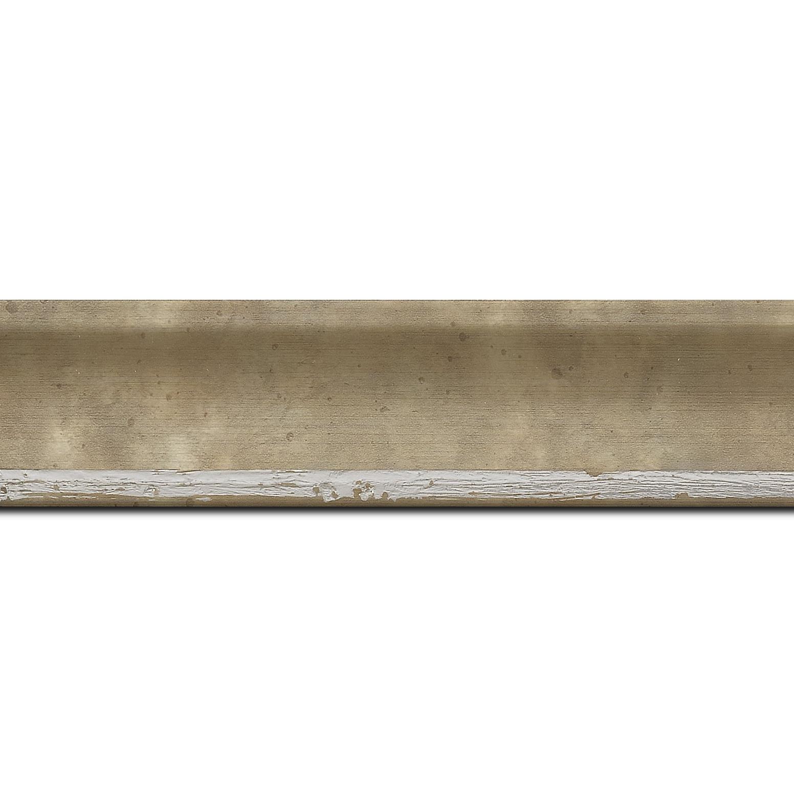 Baguette longueur 1.40m bois profil incurvé largeur 3.9cm argent chaud tamisé