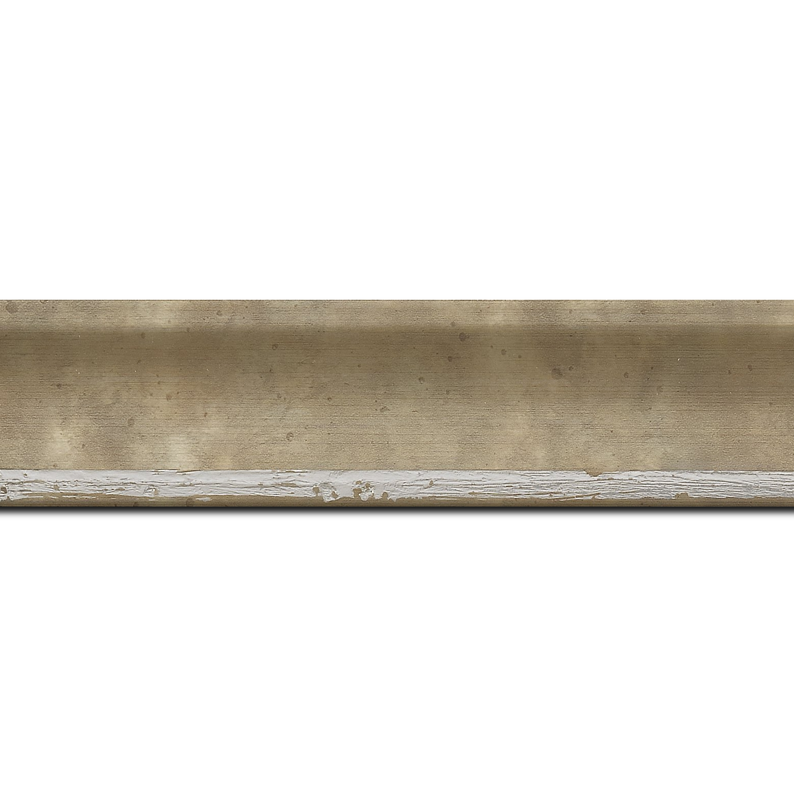 Pack par 12m, bois profil incurvé largeur 3.9cm argent chaud tamisé (longueur baguette pouvant varier entre 2.40m et 3m selon arrivage des bois)