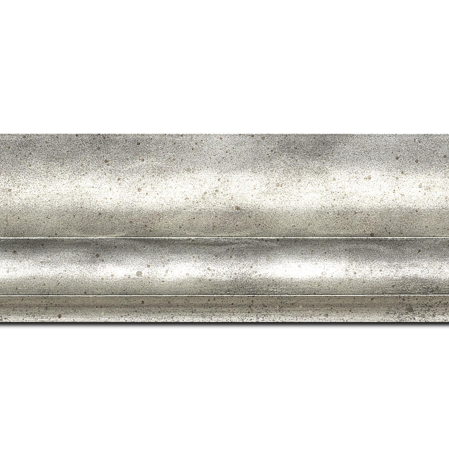 Baguette longueur 1.40m bois profil plat ondulé largeur 5.9cm argent chaud