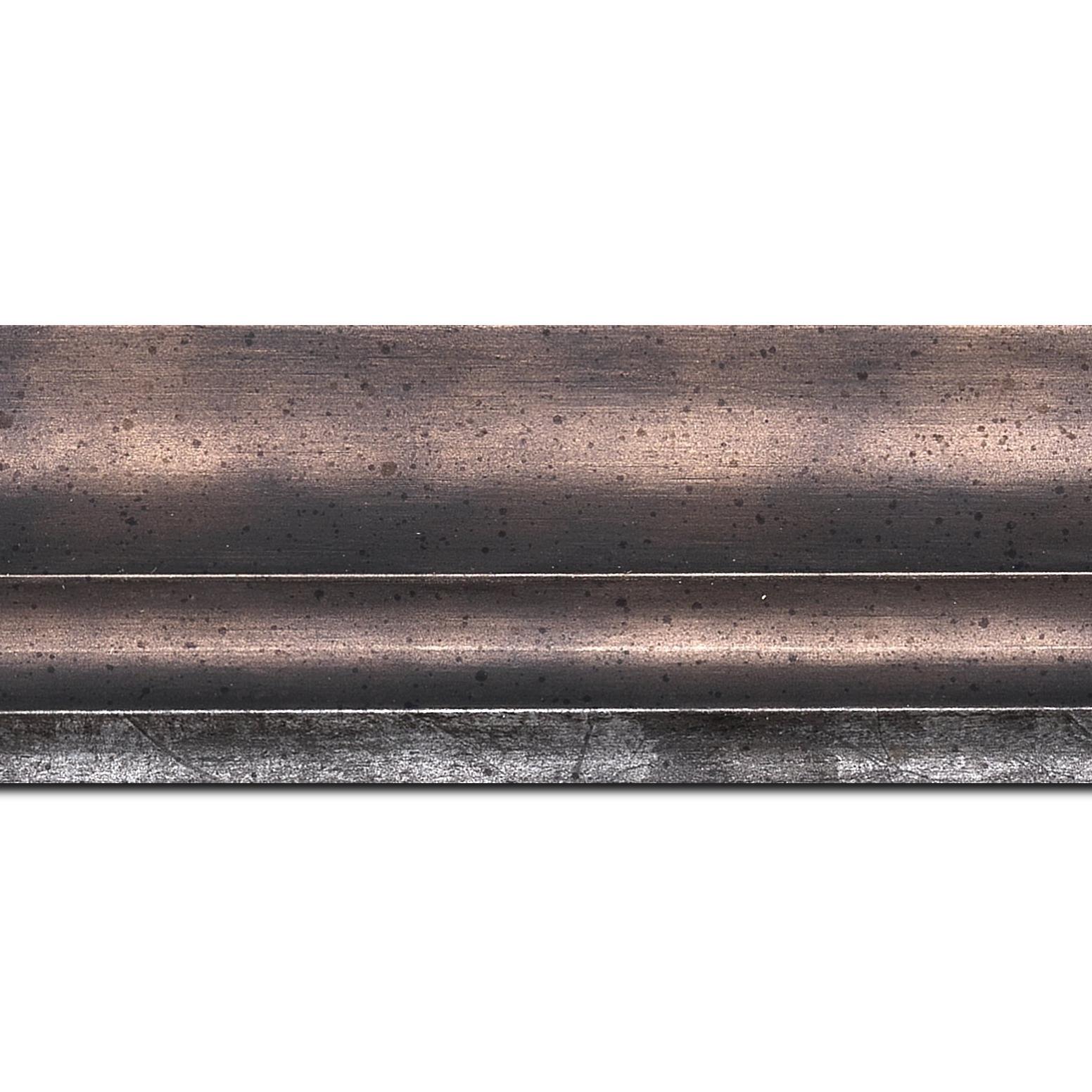 Baguette longueur 1.40m bois profil plat ondulé largeur 5.9cm plombs foncé