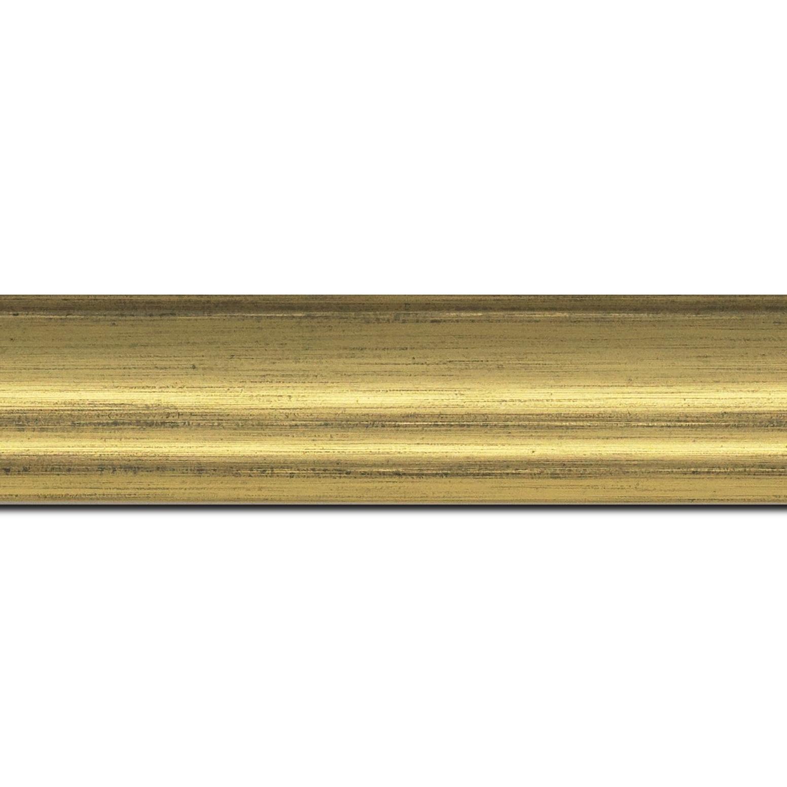 Pack par 12m, bois profil incurvé largeur 4.2cm or finition nature (longueur baguette pouvant varier entre 2.40m et 3m selon arrivage des bois)