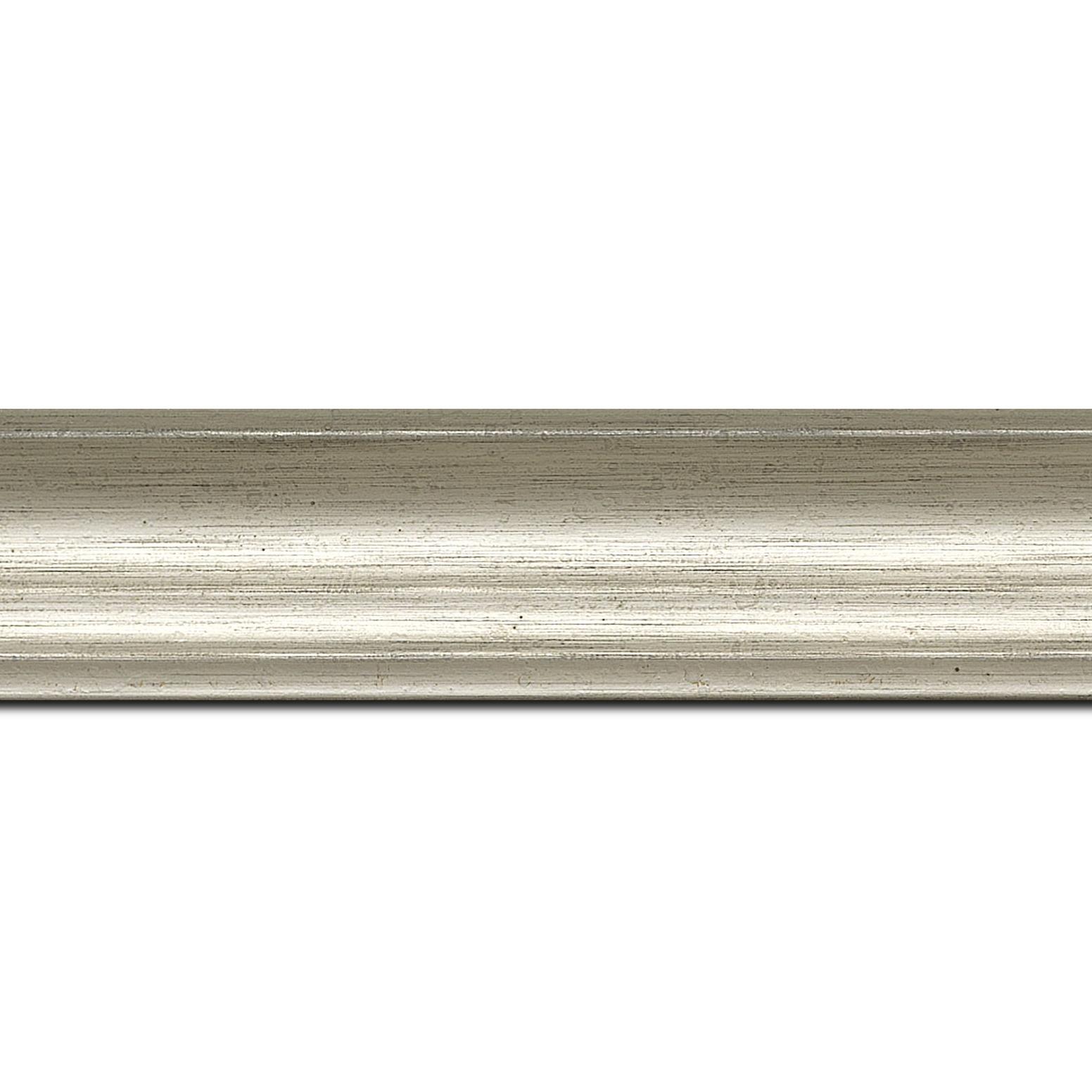 Pack par 12m, bois profil incurvé largeur 4.2cm argent chaud  finition nature (longueur baguette pouvant varier entre 2.40m et 3m selon arrivage des bois)
