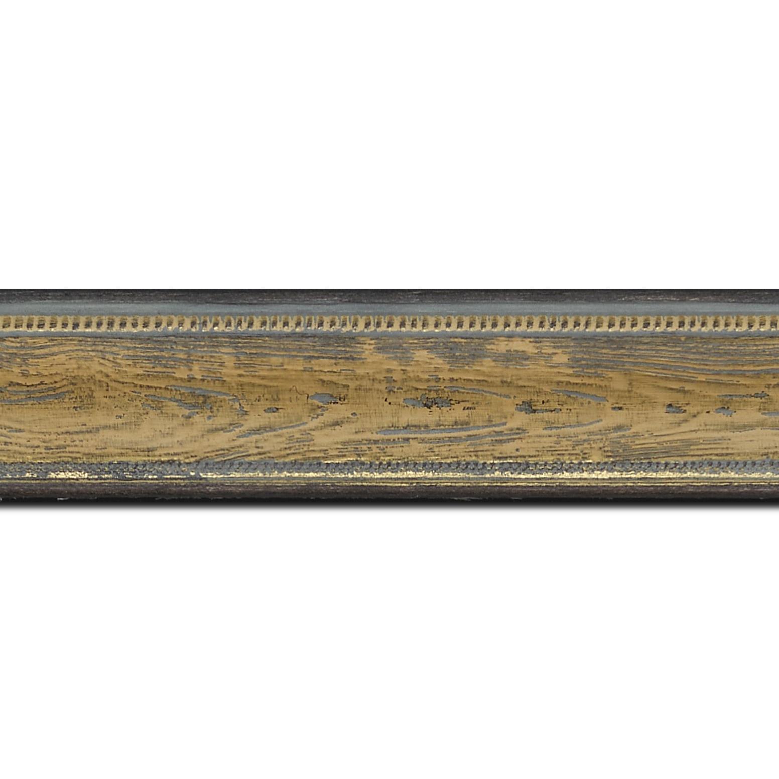 Baguette longueur 1.40m bois incurvé profil incurvé largeur 4.1cm couleur vert sur naturel aspect veiné liseret or