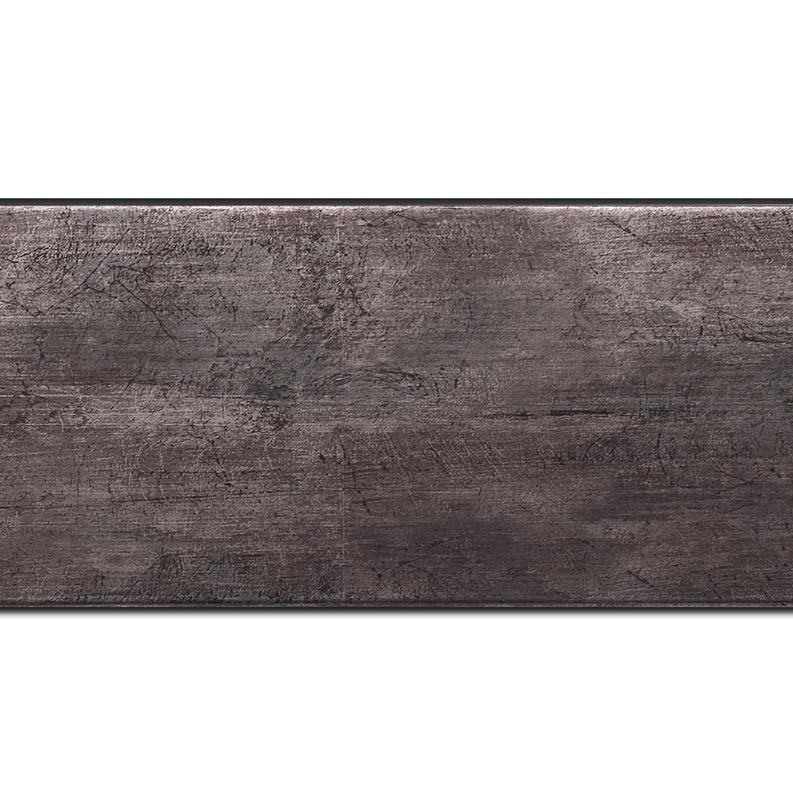 Baguette longueur 1.40m bois profil plat largeur 8.1cm argent étain contemporain