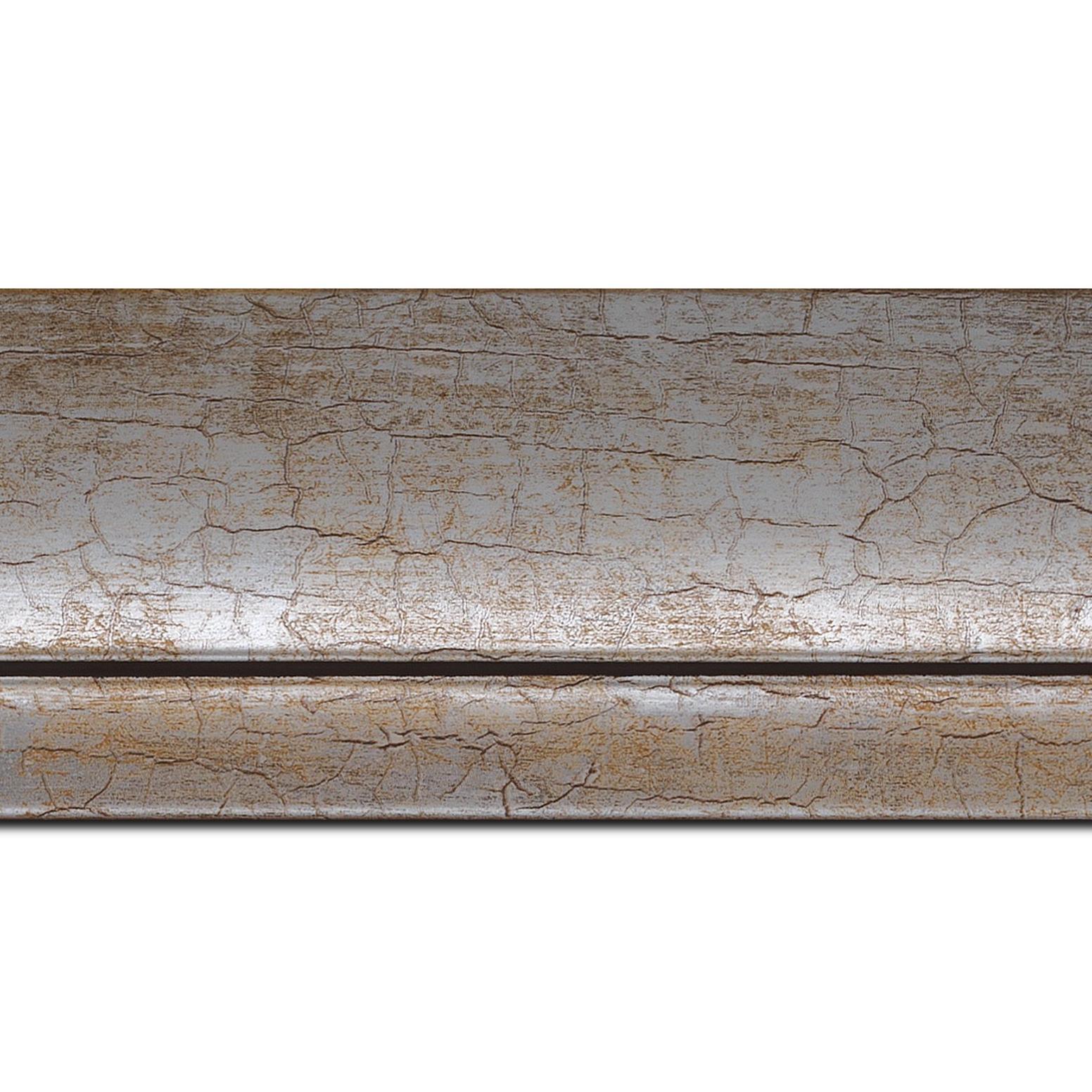 Pack par 12m, bois profil arrondi largeur 7.6cm argent chaud craquelé(longueur baguette pouvant varier entre 2.40m et 3m selon arrivage des bois)
