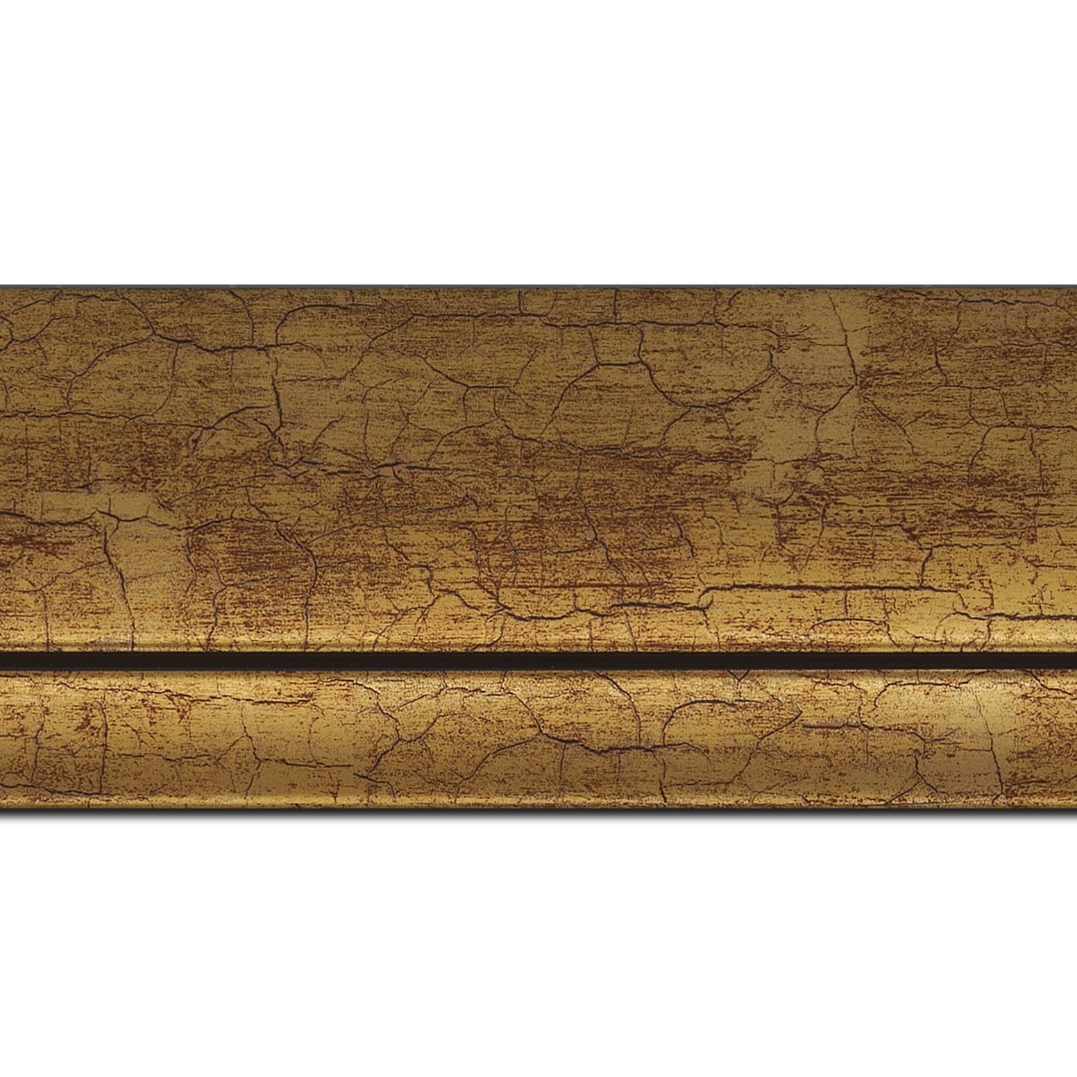 Pack par 12m, bois profil arrondi largeur 7.6cm or craquelé(longueur baguette pouvant varier entre 2.40m et 3m selon arrivage des bois)