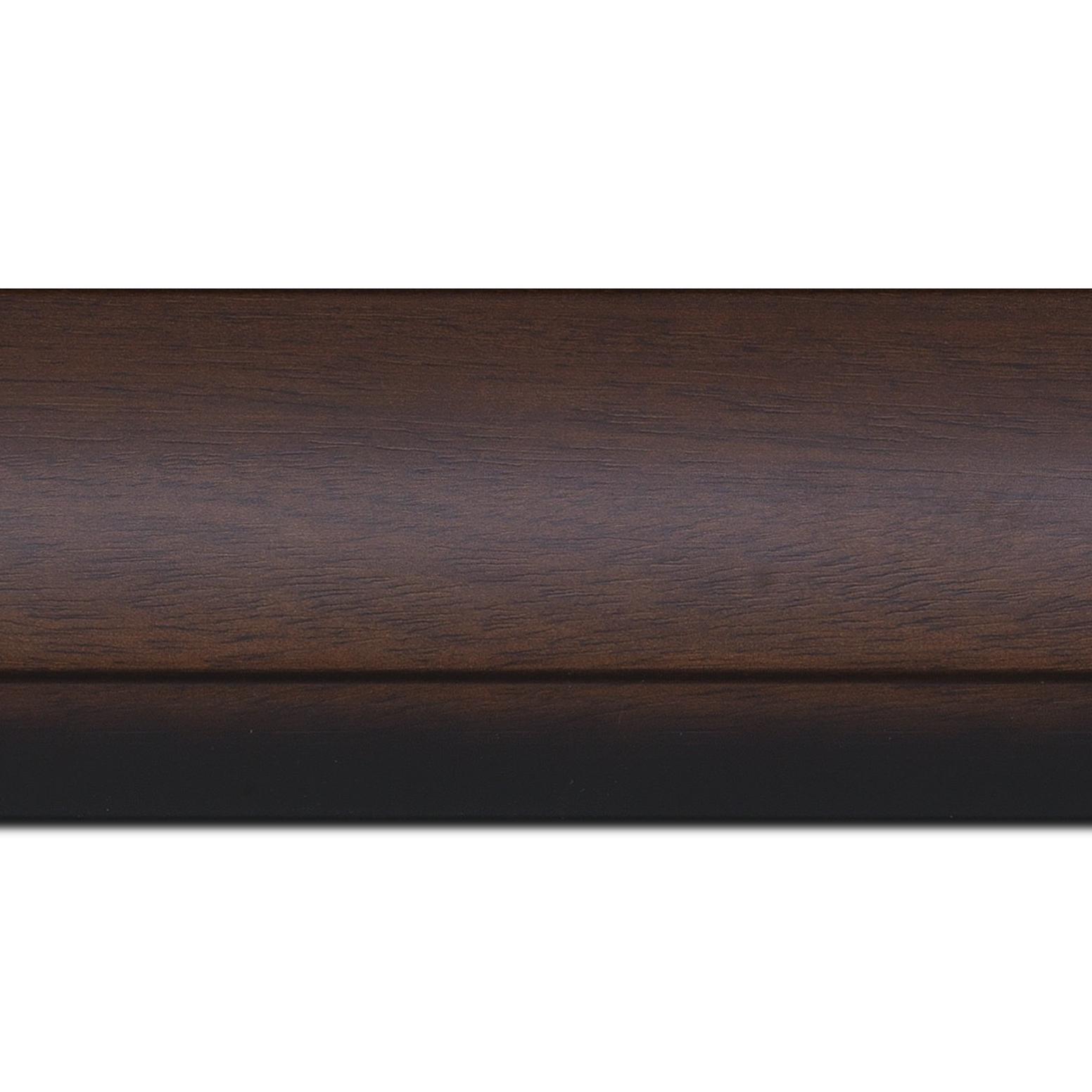 Pack par 12m, bois profil arrondi largeur 7.6cm couleur chocolat nez noirci (longueur baguette pouvant varier entre 2.40m et 3m selon arrivage des bois)
