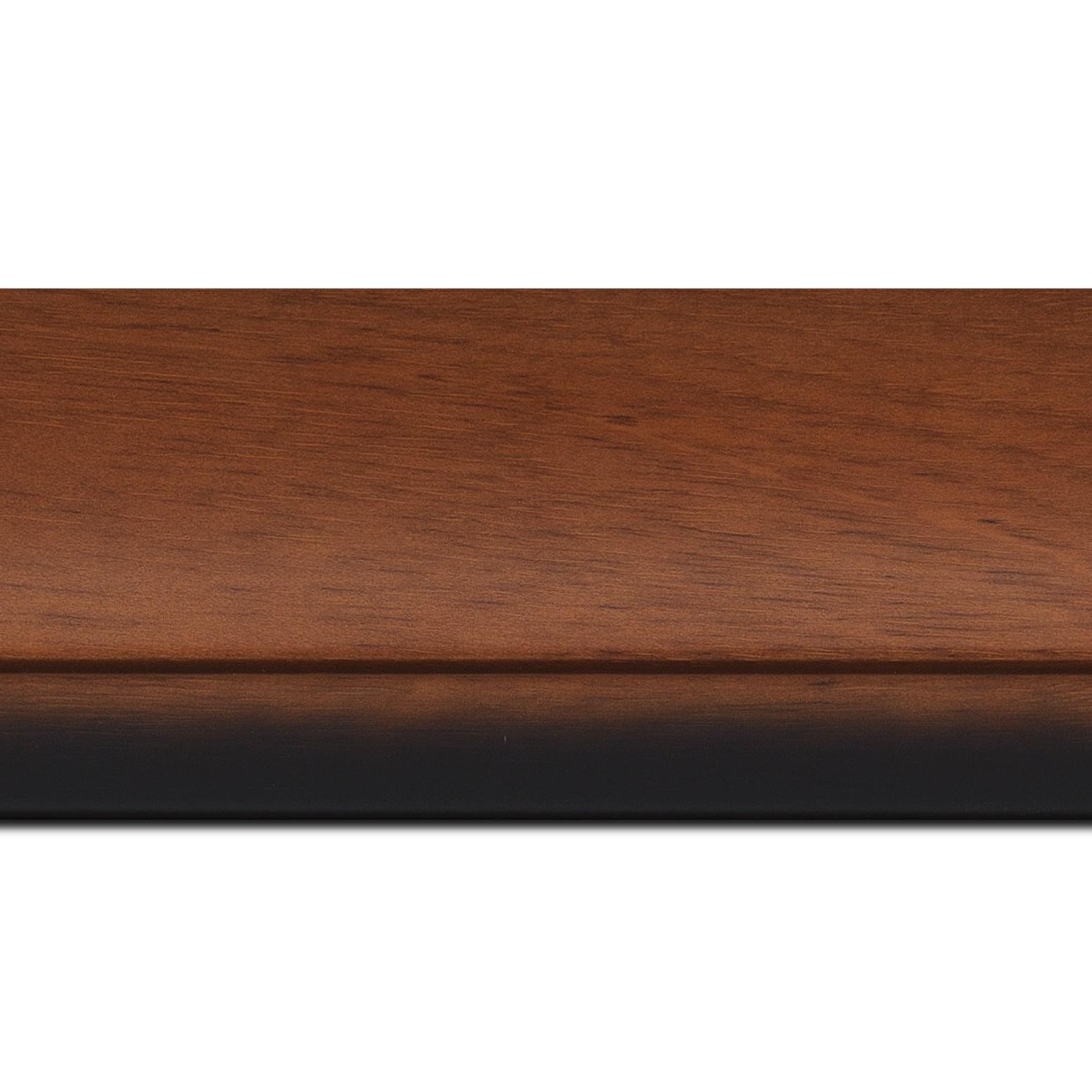 Baguette longueur 1.40m bois profil arrondi largeur 7.6cm couleur merisier nez noirci