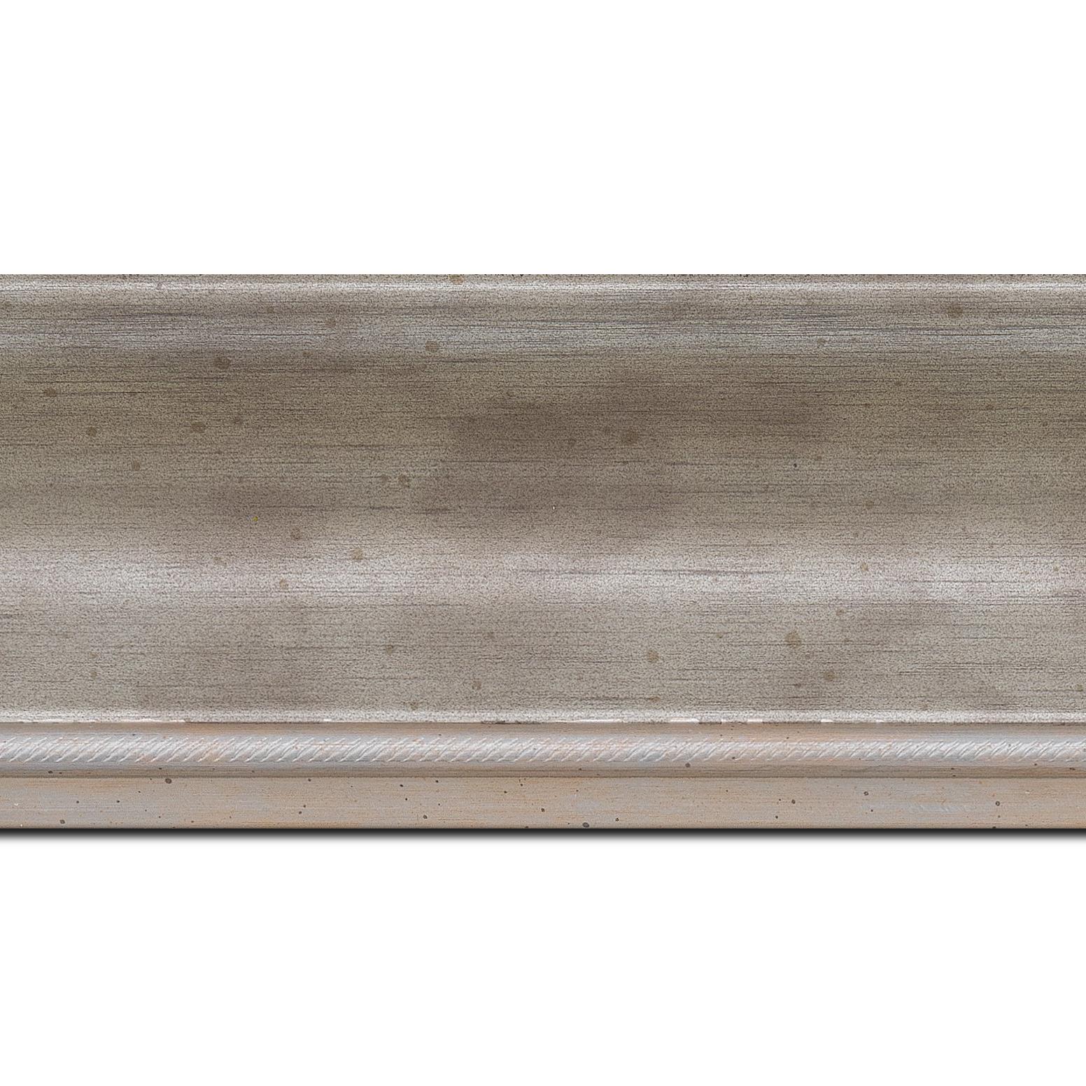 Pack par 12m, bois profil incurvé largeur 7.5cm de couleur argent finition antique filet argent vermeille(longueur baguette pouvant varier entre 2.40m et 3m selon arrivage des bois)