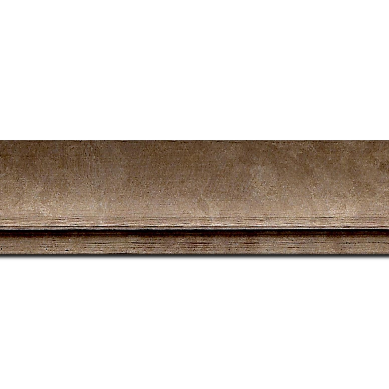 Pack par 12m, bois profil incurvé largeur 4.2cm couleur cuivre effet givré (longueur baguette pouvant varier entre 2.40m et 3m selon arrivage des bois)