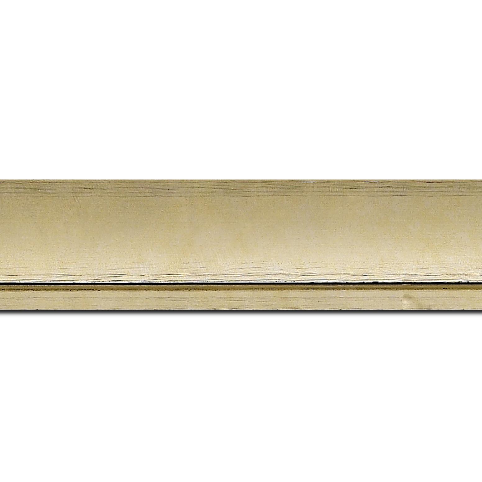 Pack par 12m, bois profil incurvé largeur 4.2cm couleur or effet givré (longueur baguette pouvant varier entre 2.40m et 3m selon arrivage des bois)