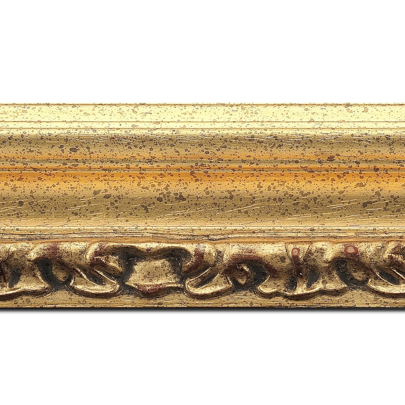 Baguette longueur 1.40m bois profil incurvé largeur 7.9cm or antique nez or à la feuille style