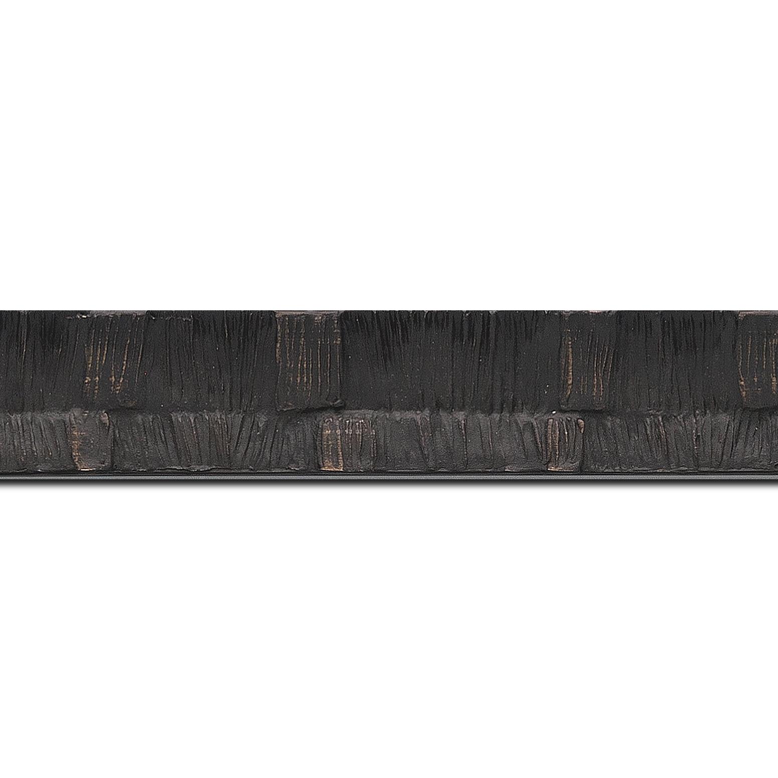 Baguette longueur 1.40m bois profil incurvé largeur 3cm  couleur noir ébène finition ethnique