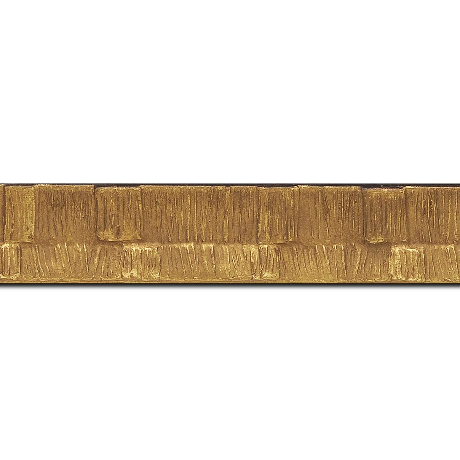 Baguette longueur 1.40m bois profil incurvé largeur 3cm  couleur or finition ethnique