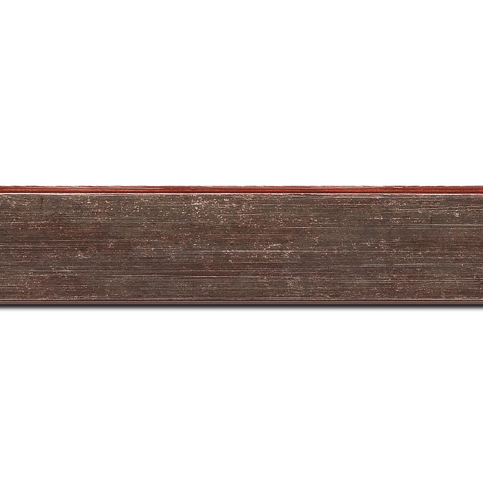 Pack par 12m, bois profil plat incliné largeur 3.7cm couleur bordeaux lie de vin effet ressuyé (longueur baguette pouvant varier entre 2.40m et 3m selon arrivage des bois)