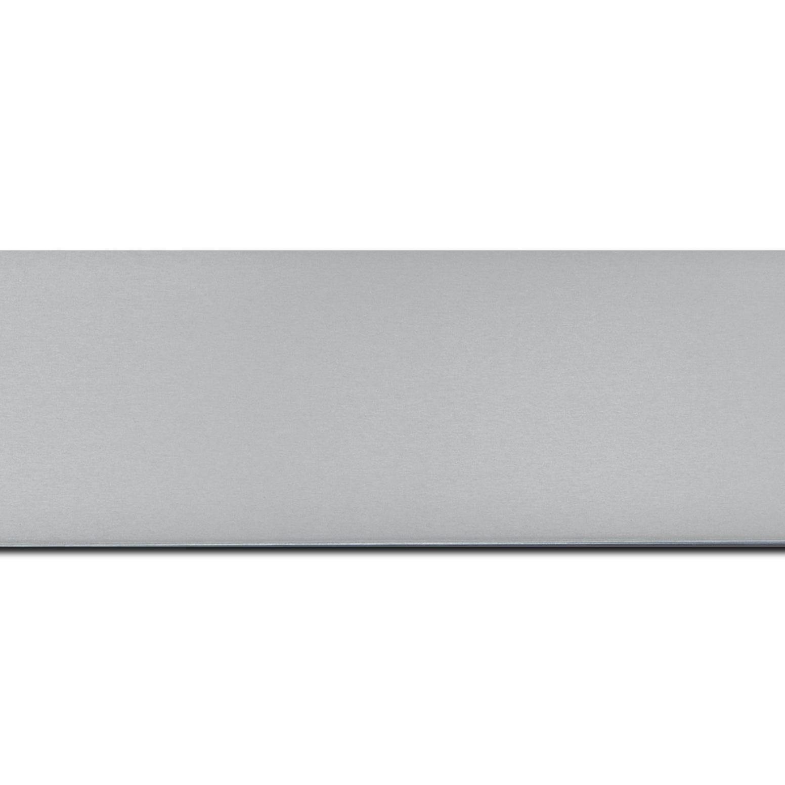 Baguette longueur 1.40m bois recouvert aluminium profil plat largeur 6cm argent brossé bord droit