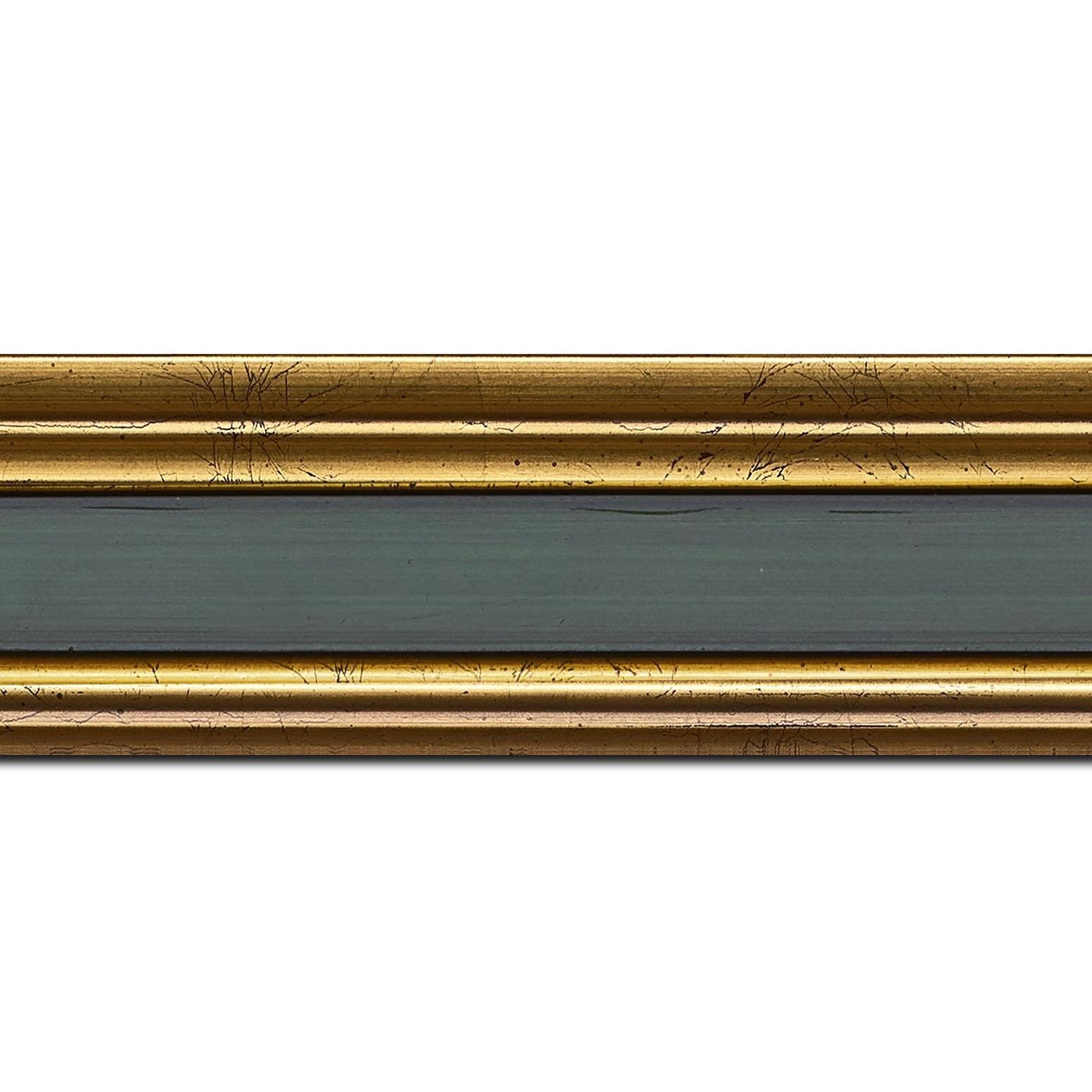 Pack par 12m, bois profil braque largeur 5.2cm or patiné gorge vert foncé antique (longueur baguette pouvant varier entre 2.40m et 3m selon arrivage des bois)