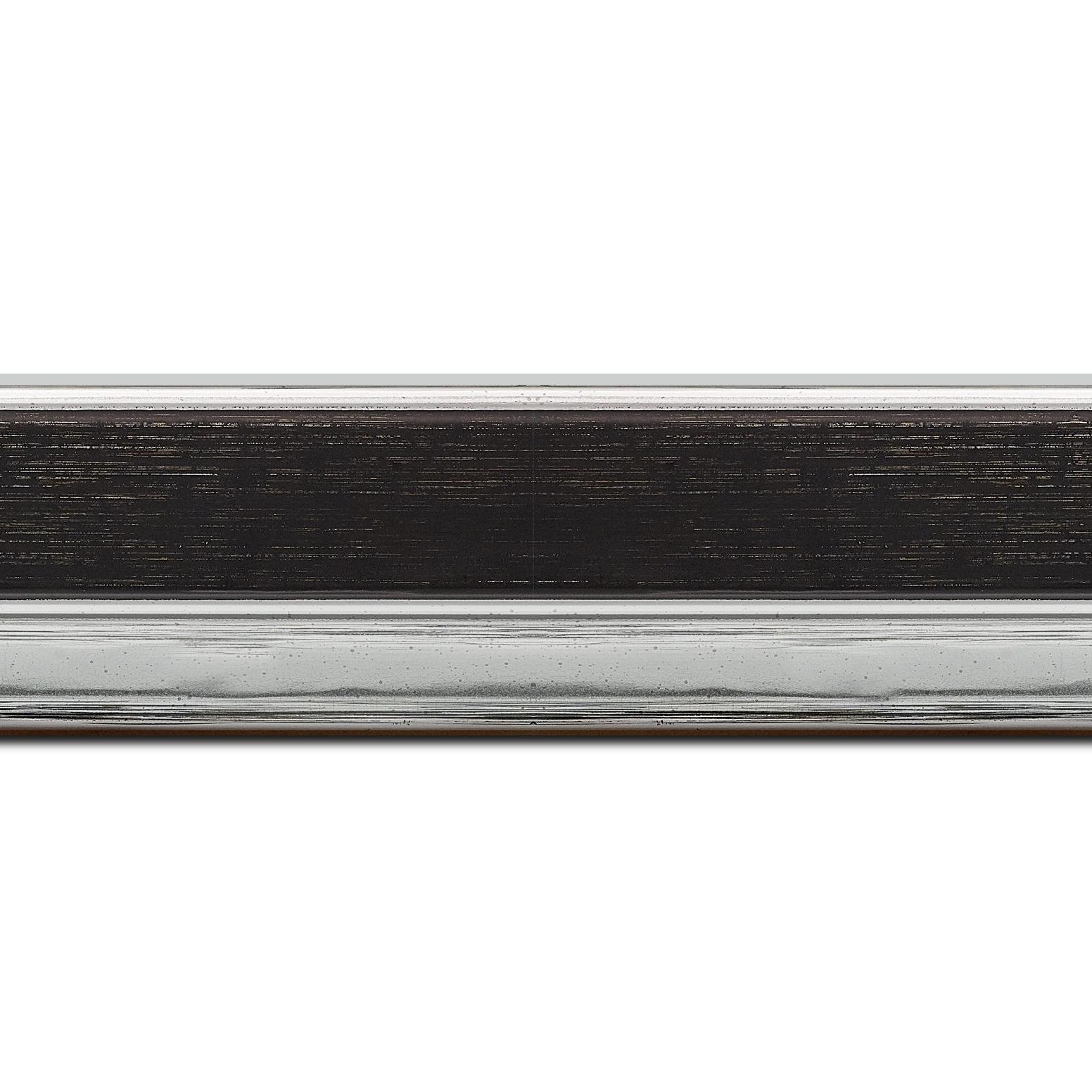 Pack par 12m, bois profil plat largeur 5cm couleur noir nez argent chromé bosselé(longueur baguette pouvant varier entre 2.40m et 3m selon arrivage des bois)