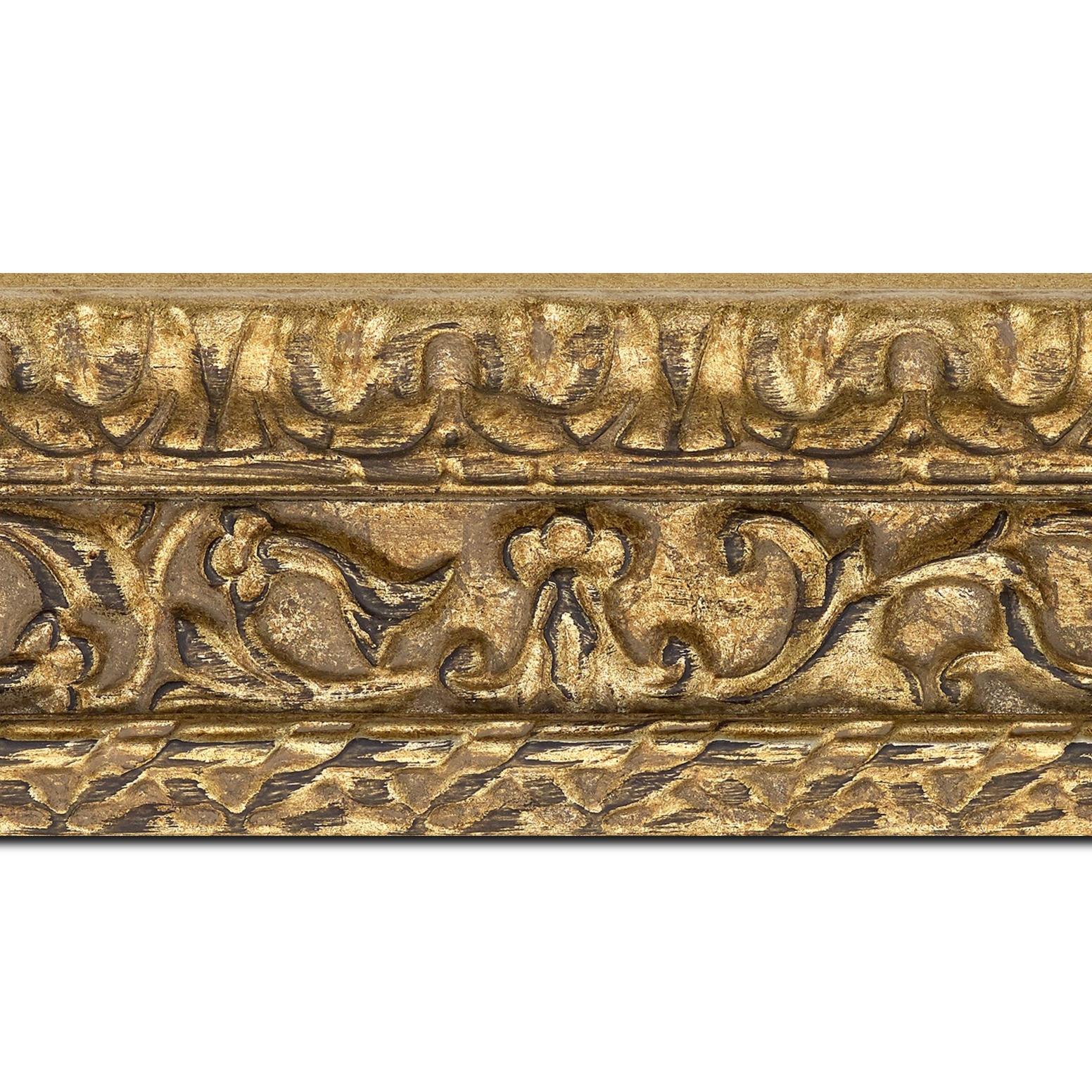 Baguette longueur 1.40m bois profil incurvé largeur 9.8cm argent chaud antique style ornement