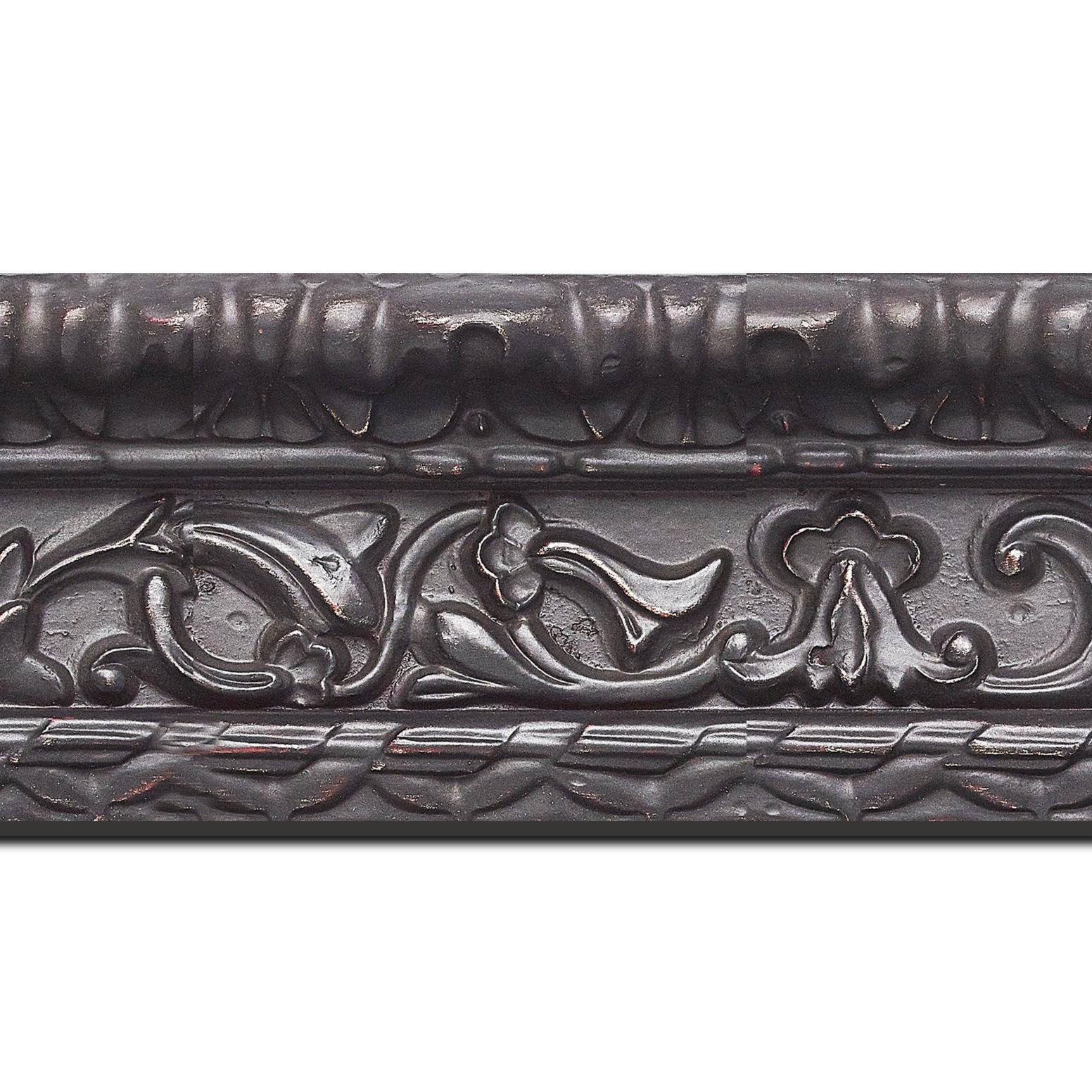 Pack par 12m, bois profil incurvé largeur 9.8cm noir antique style ornement (longueur baguette pouvant varier entre 2.40m et 3m selon arrivage des bois)