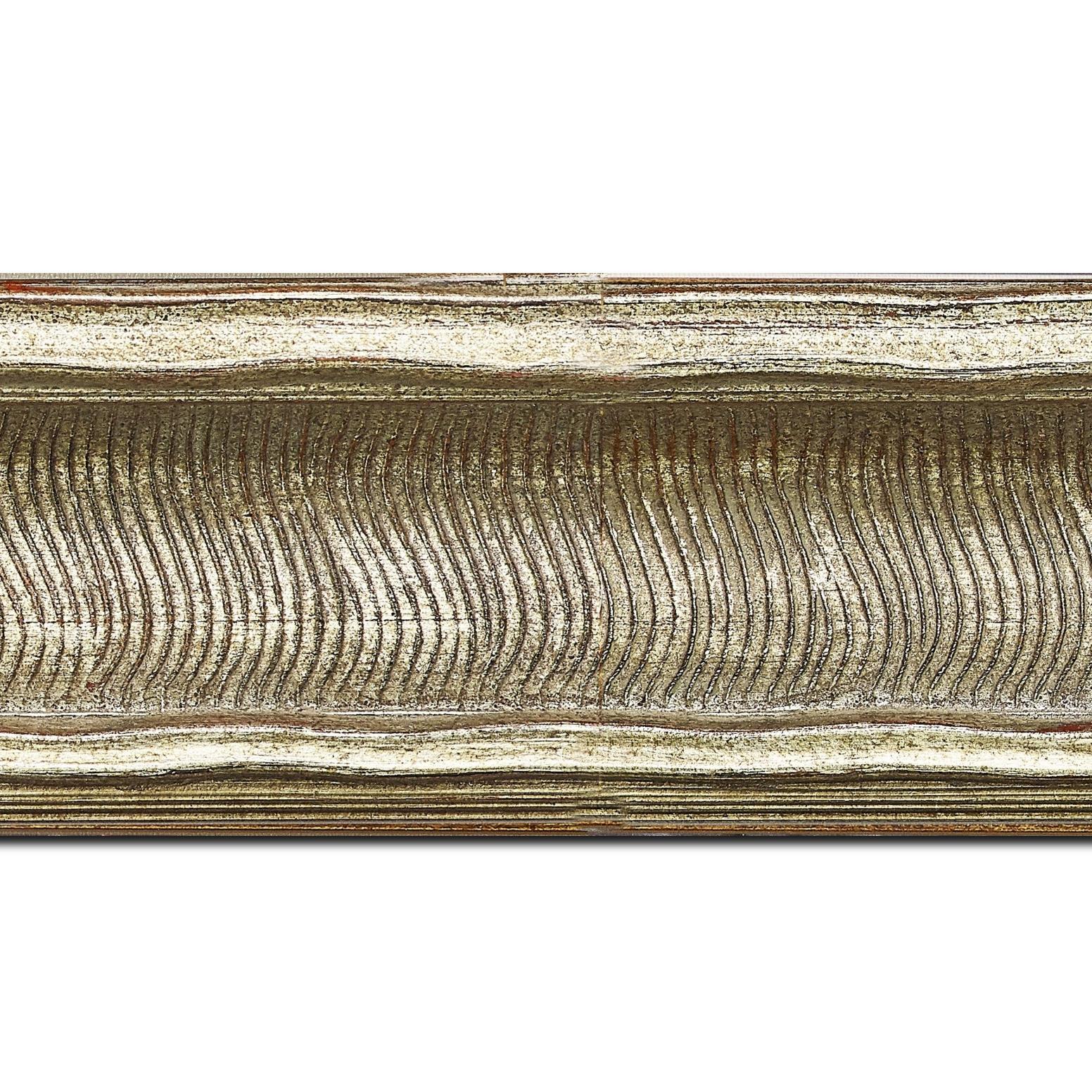 Baguette longueur 1.40m bois profil incurvé largeur 8.5cm argent chaud antique